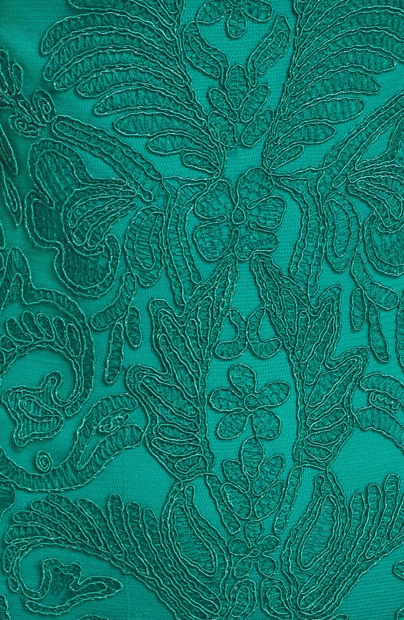 Illusion Off the Shoulder Lace Trumpet Gown,                             Alternate thumbnail 5, color,                             326