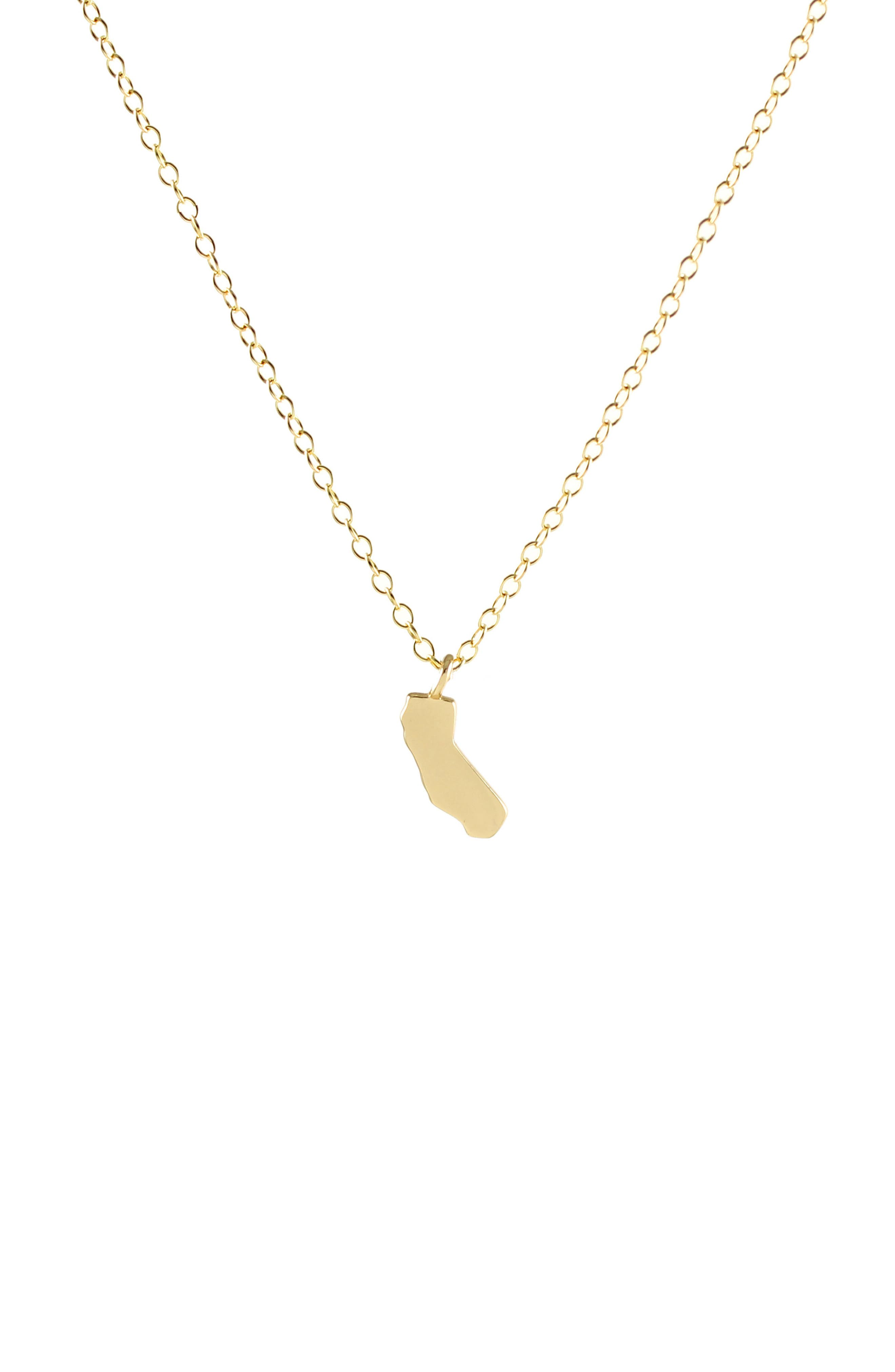Solid State Charm Necklace,                             Main thumbnail 1, color,                             CALIFORNIA - GOLD