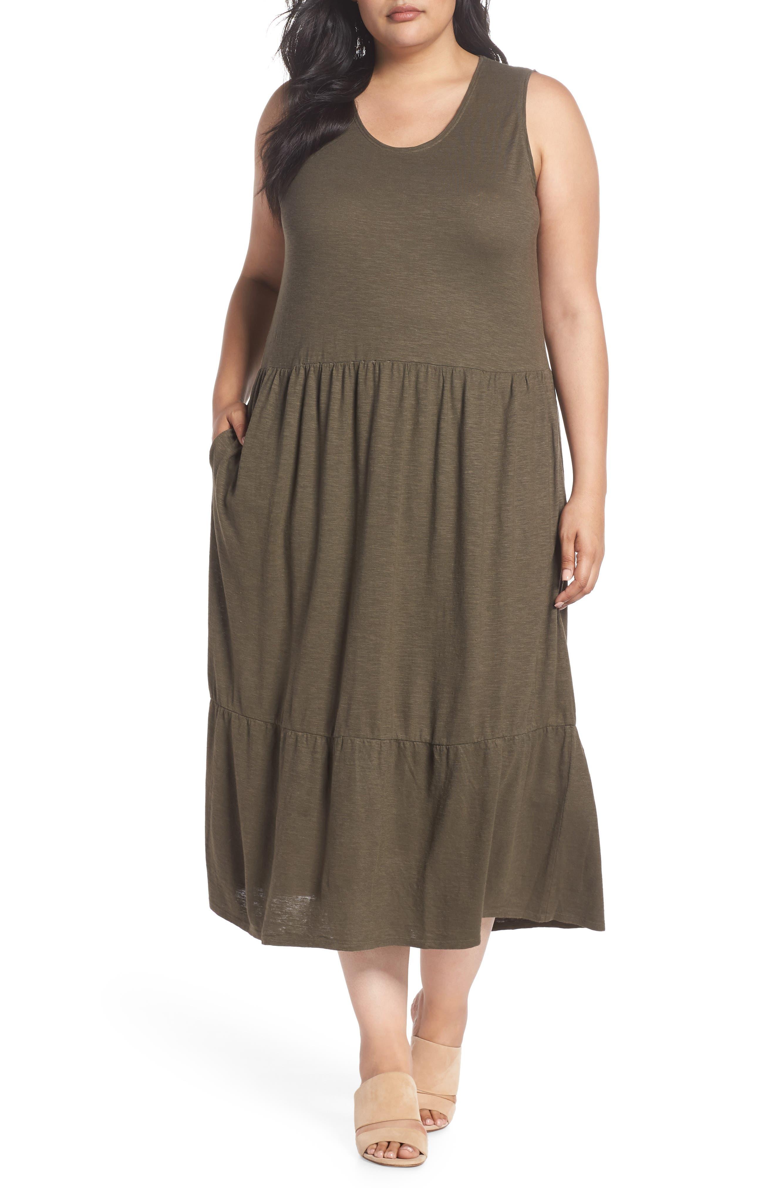 Scooped Neck Hemp & Cotton Midi Dress,                             Main thumbnail 1, color,                             359
