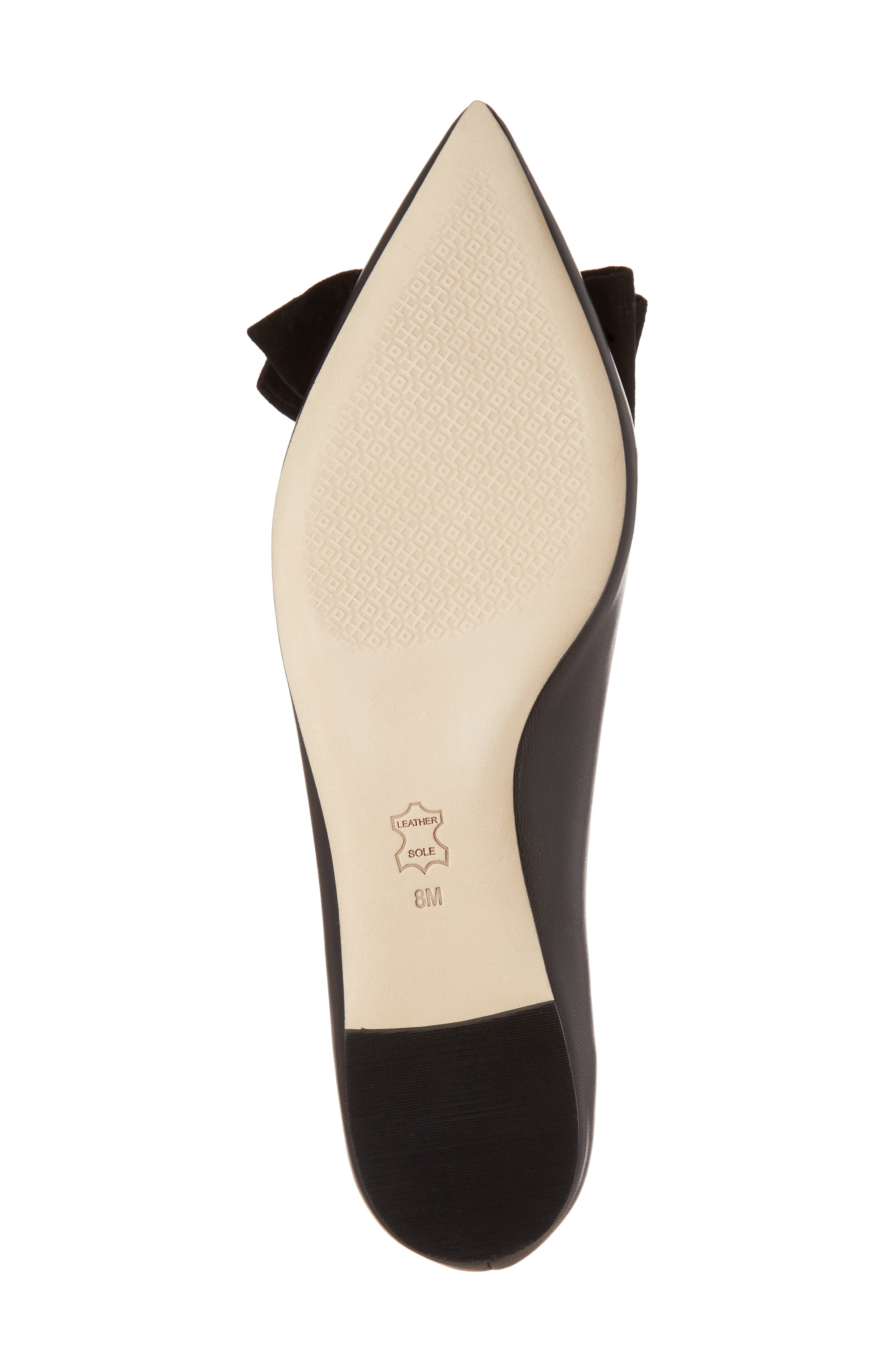 Rosalind Bow Pointy Toe Flat,                             Alternate thumbnail 6, color,                             BLACK LEATHER