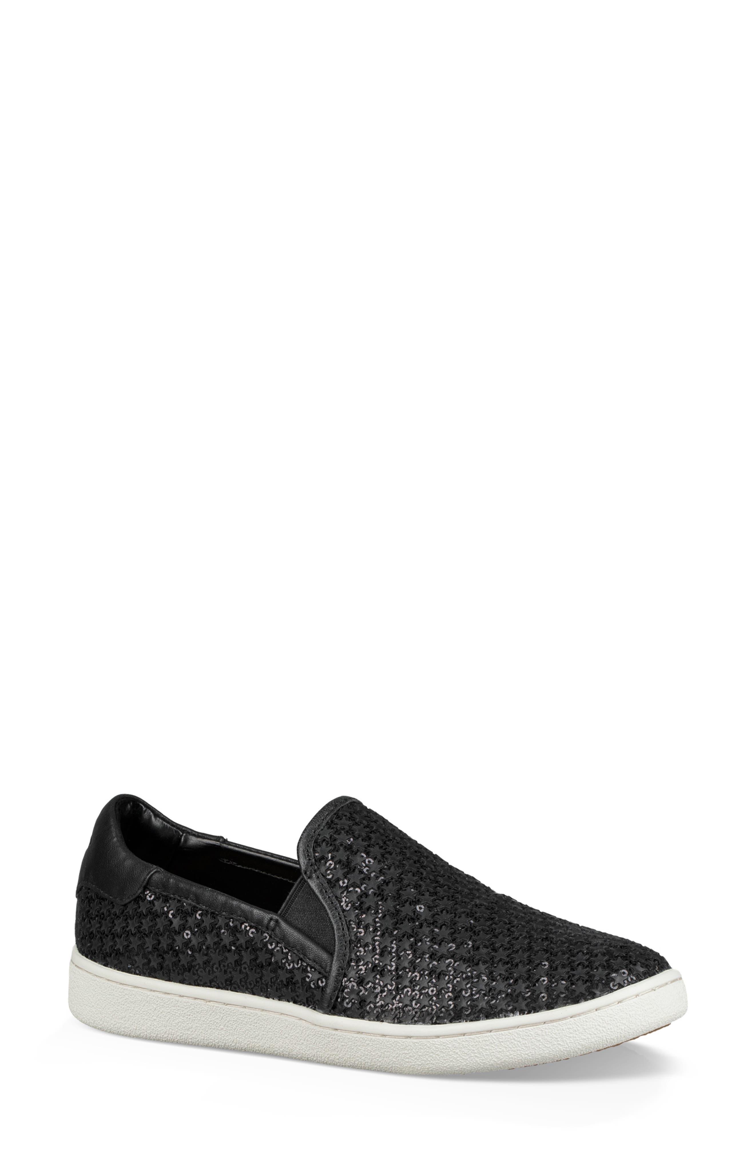 Cas Glitter Sneaker,                         Main,                         color, BLACK