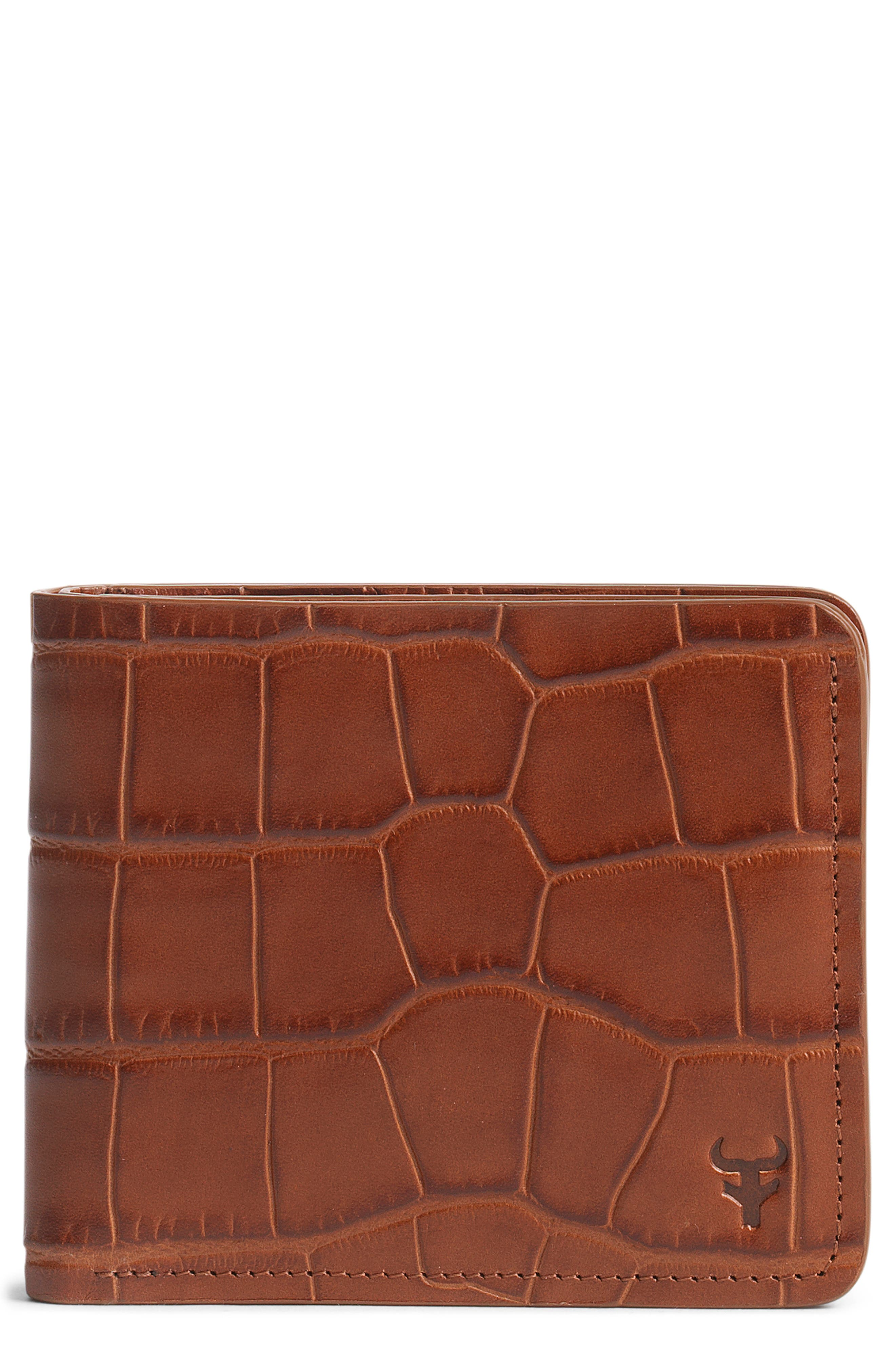 'Jackson' Slimfold Embossed Leather Wallet,                             Alternate thumbnail 3, color,                             SCOTCH