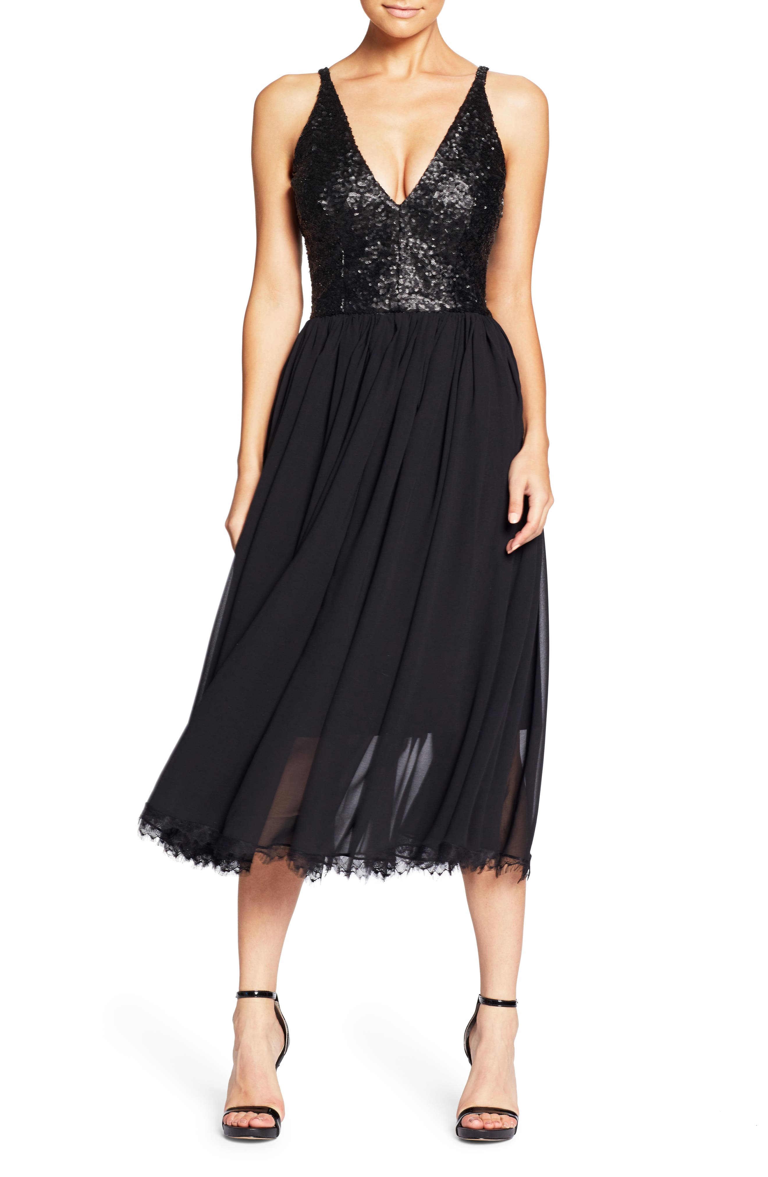 Tracy Plunging Sequin Bodice Tea Length Dress,                         Main,                         color, 008