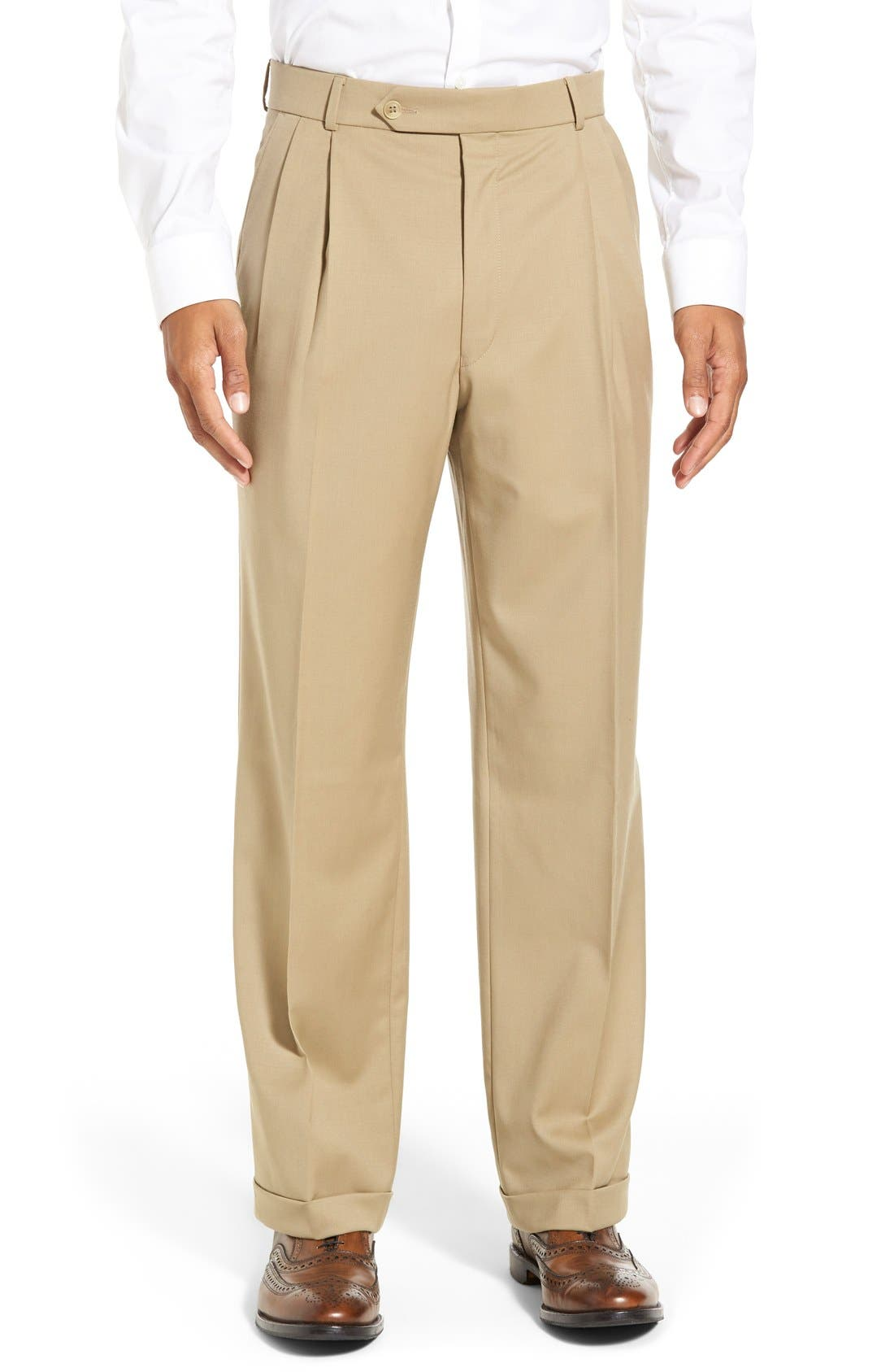 Pleated Solid Wool Trousers,                             Main thumbnail 9, color,