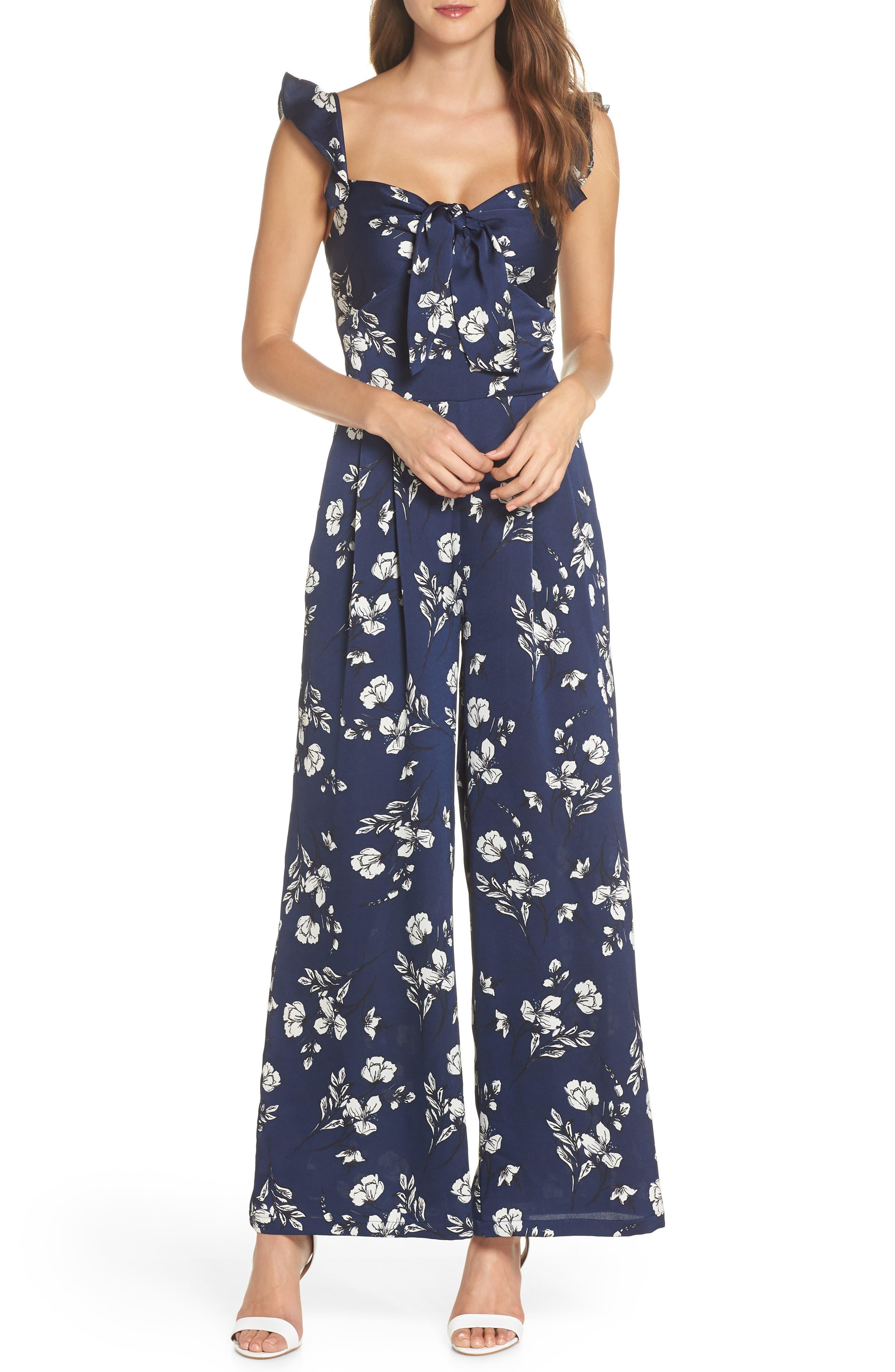 Tie Front Jumpsuit,                         Main,                         color, NAVY FLORAL