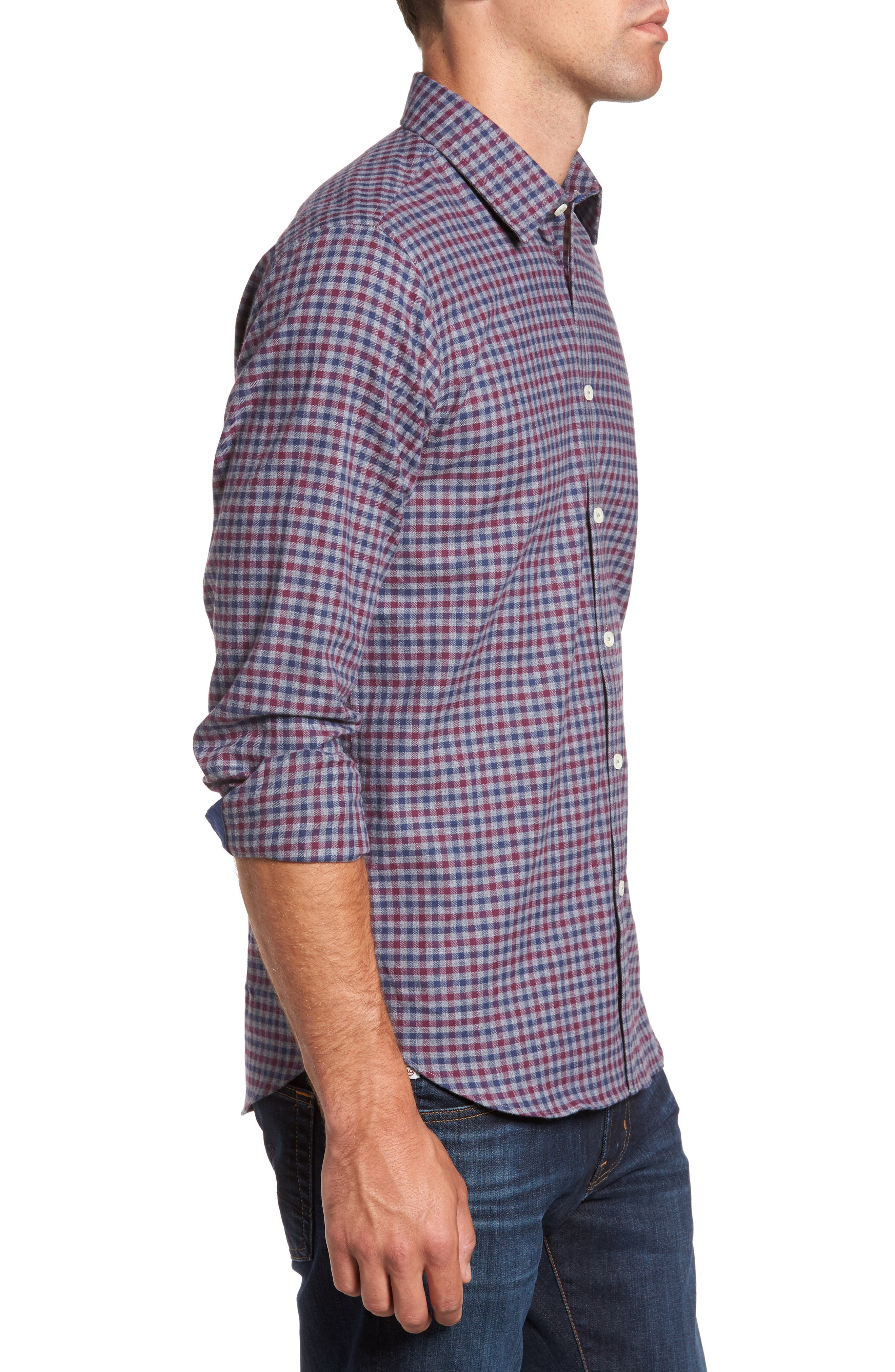 Slim Fit Check Sport Shirt,                             Alternate thumbnail 3, color,                             024