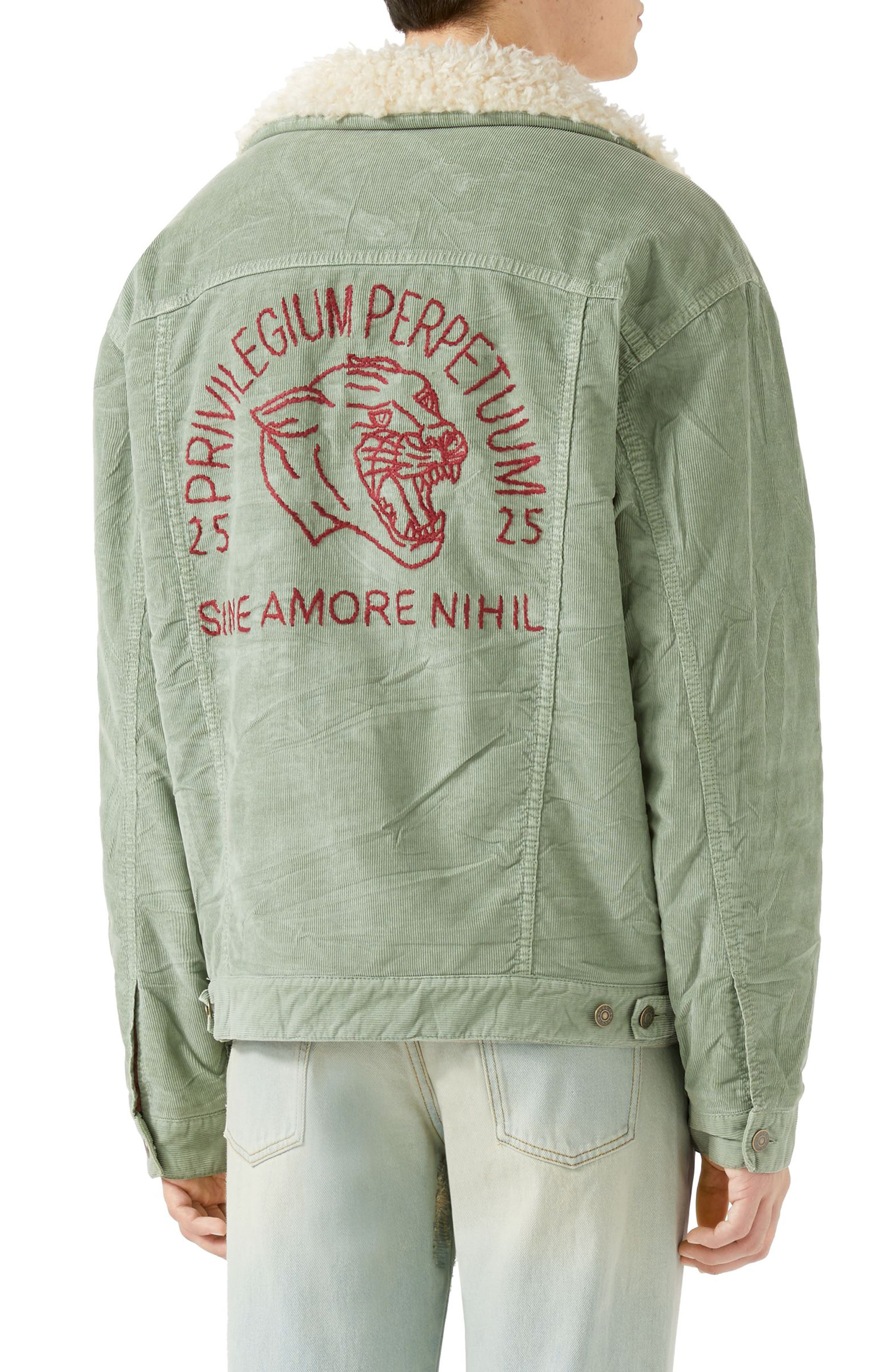 Corduroy Western Jacket with Faux Shearling Lining,                             Alternate thumbnail 2, color,                             PALE GREEN