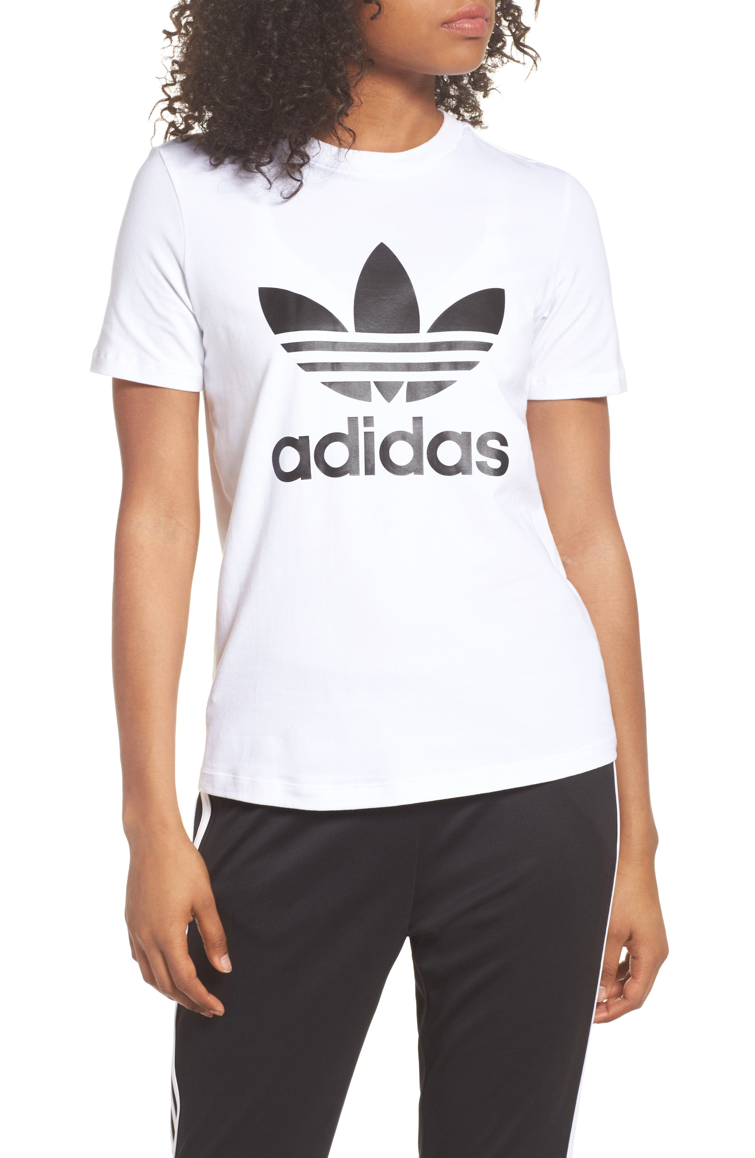 adidas Trefoil Tee,                         Main,                         color, WHITE/ BLACK