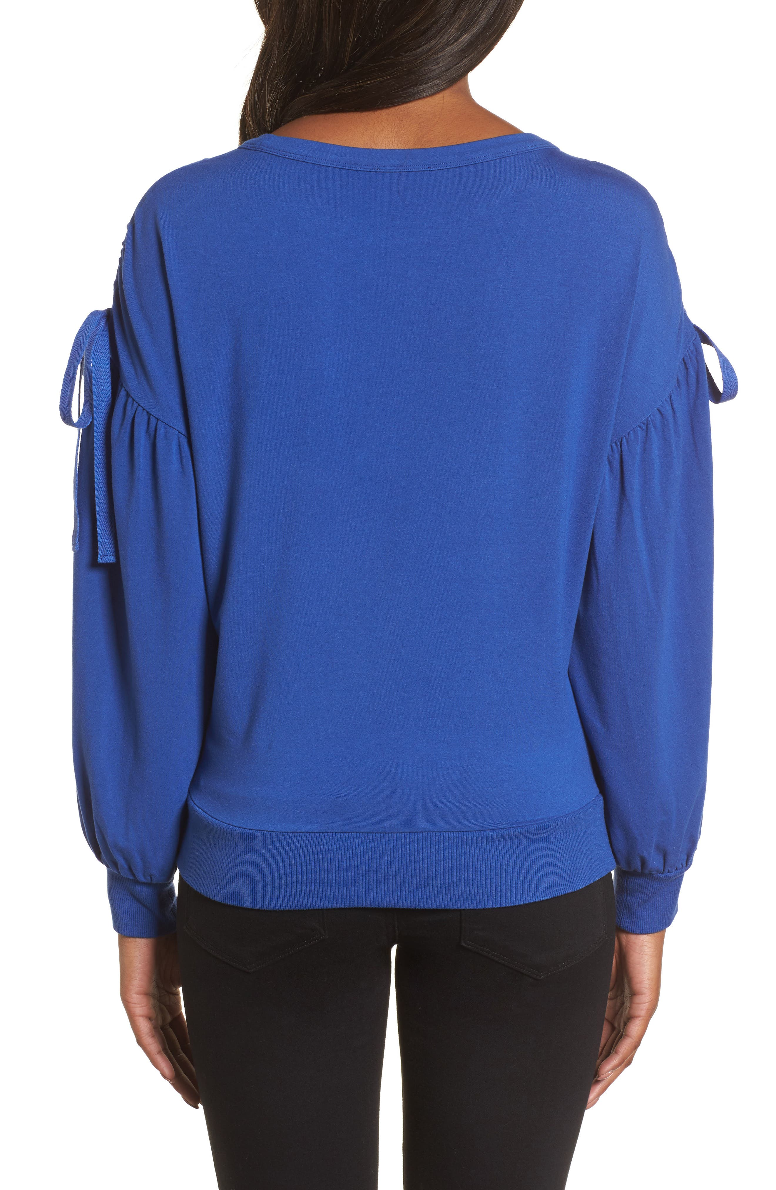 Ruched Bow Sleeve Top,                             Alternate thumbnail 7, color,