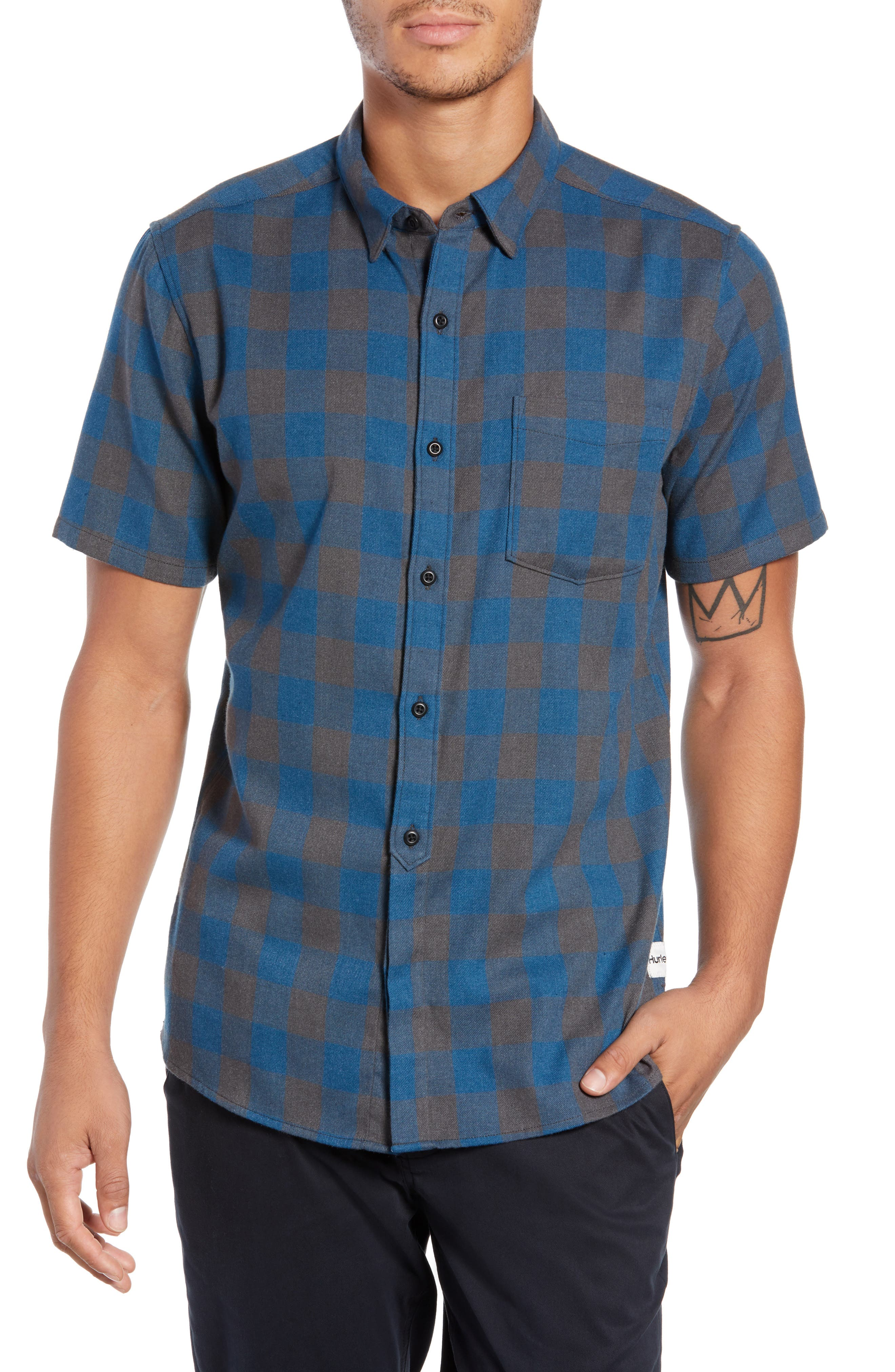 Bison Check Twill Woven Shirt,                         Main,                         color, BLUE FORCE HEATHER