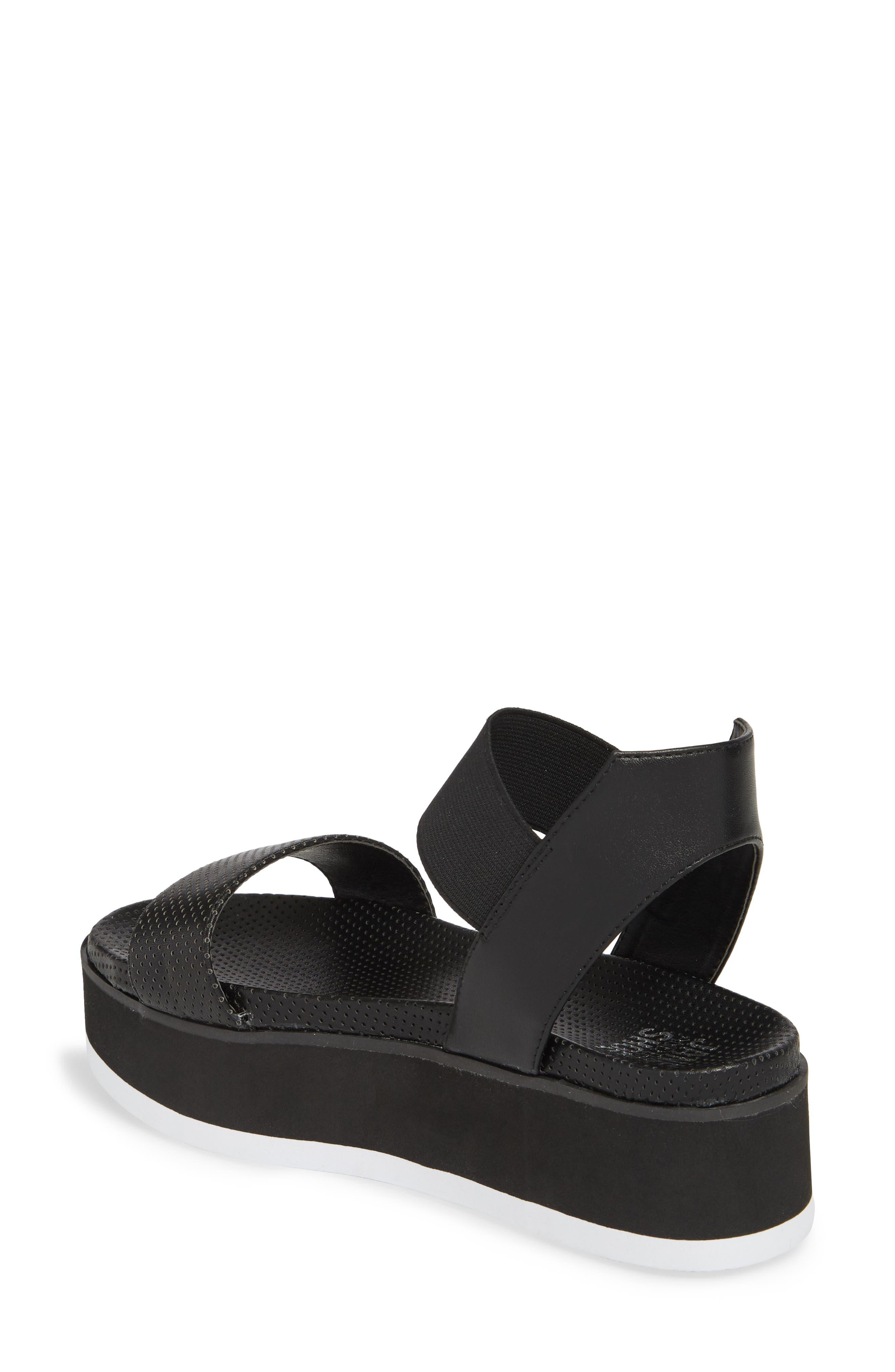 Josie Perforated Platform Sandal,                             Alternate thumbnail 2, color,                             BLACK