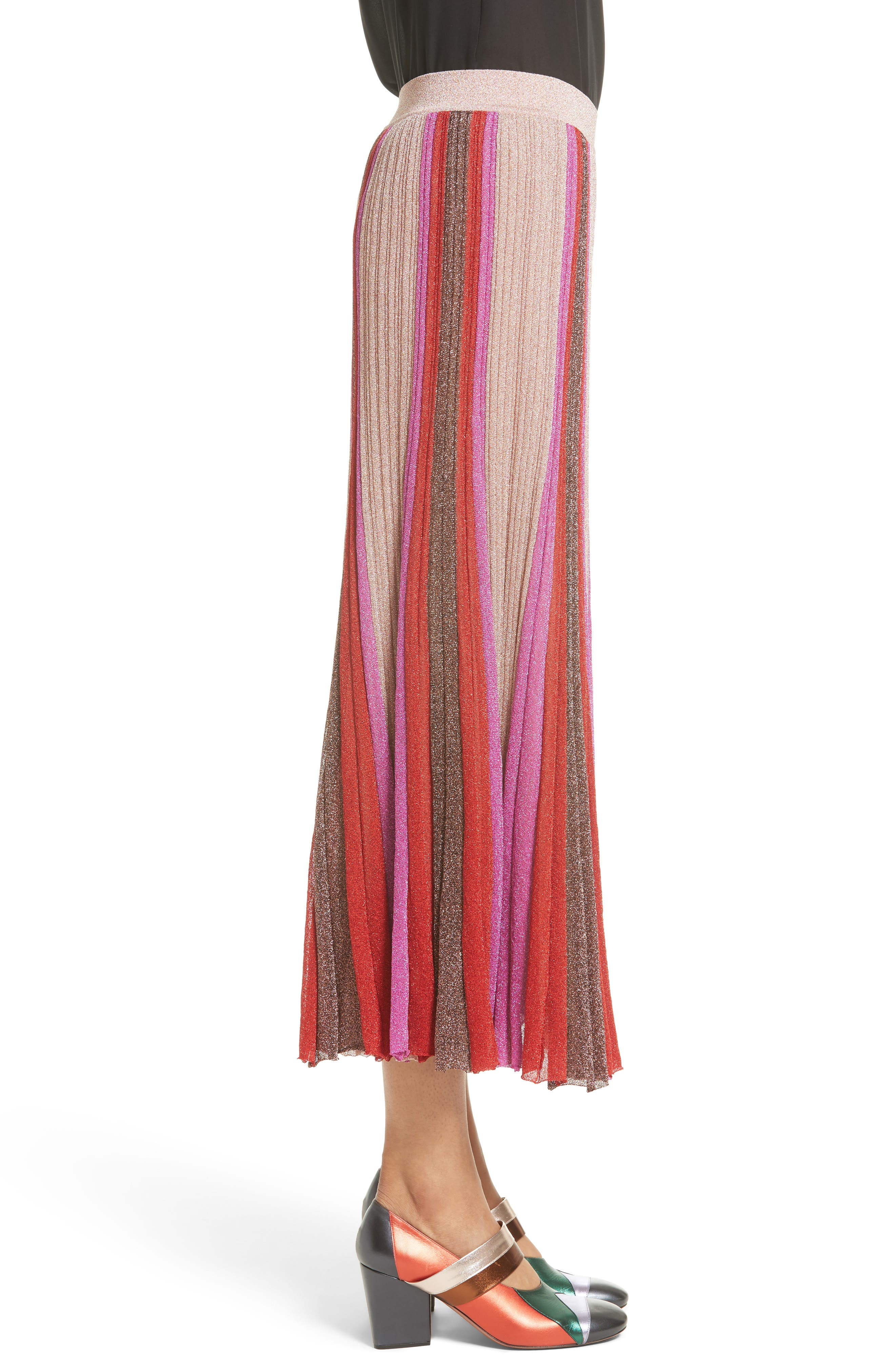 Metallic Knit Colorblock Pleated Skirt,                             Alternate thumbnail 3, color,                             650