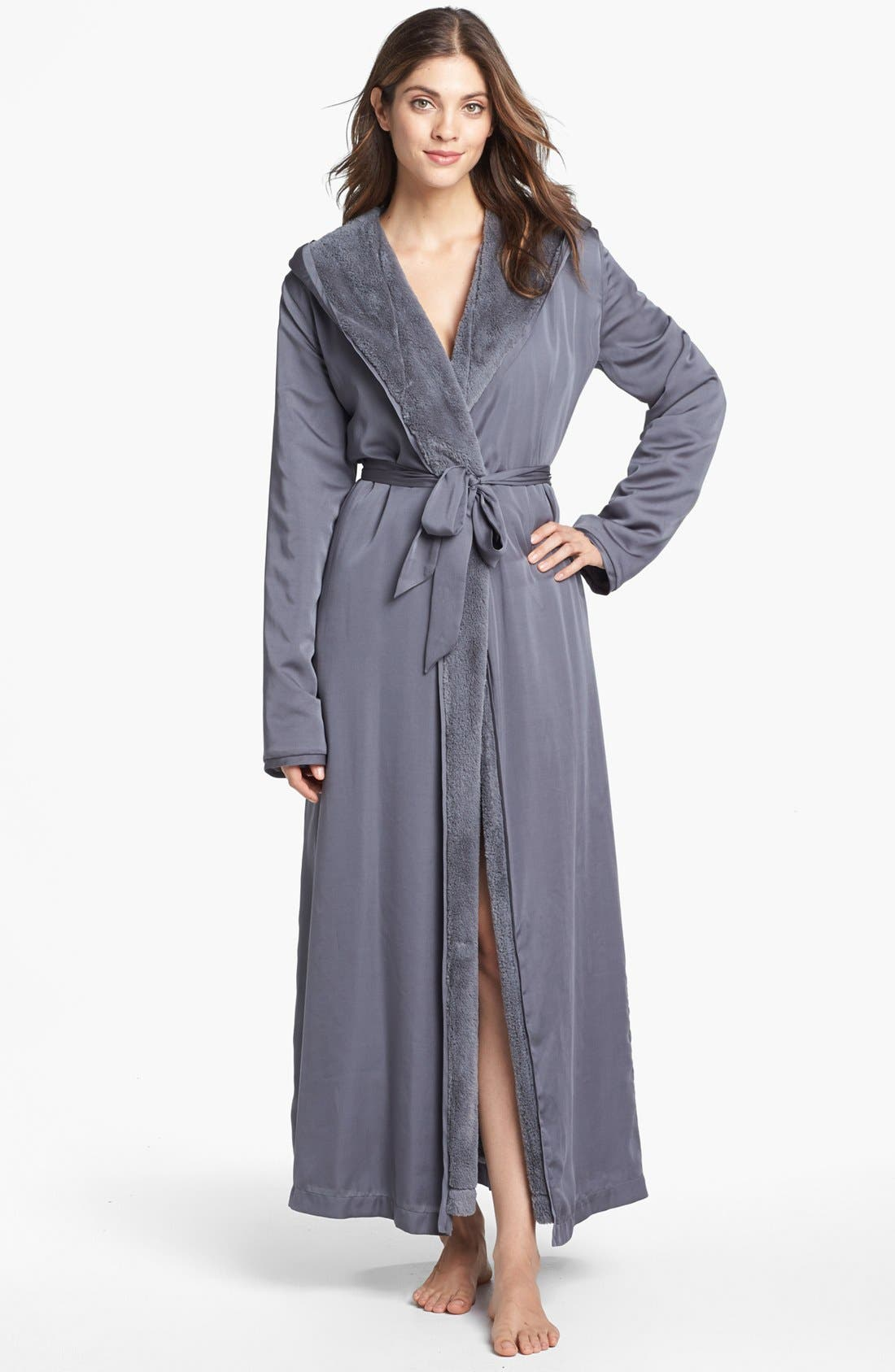 Donna Karan Plush Lined Robe,                             Main thumbnail 1, color,                             023
