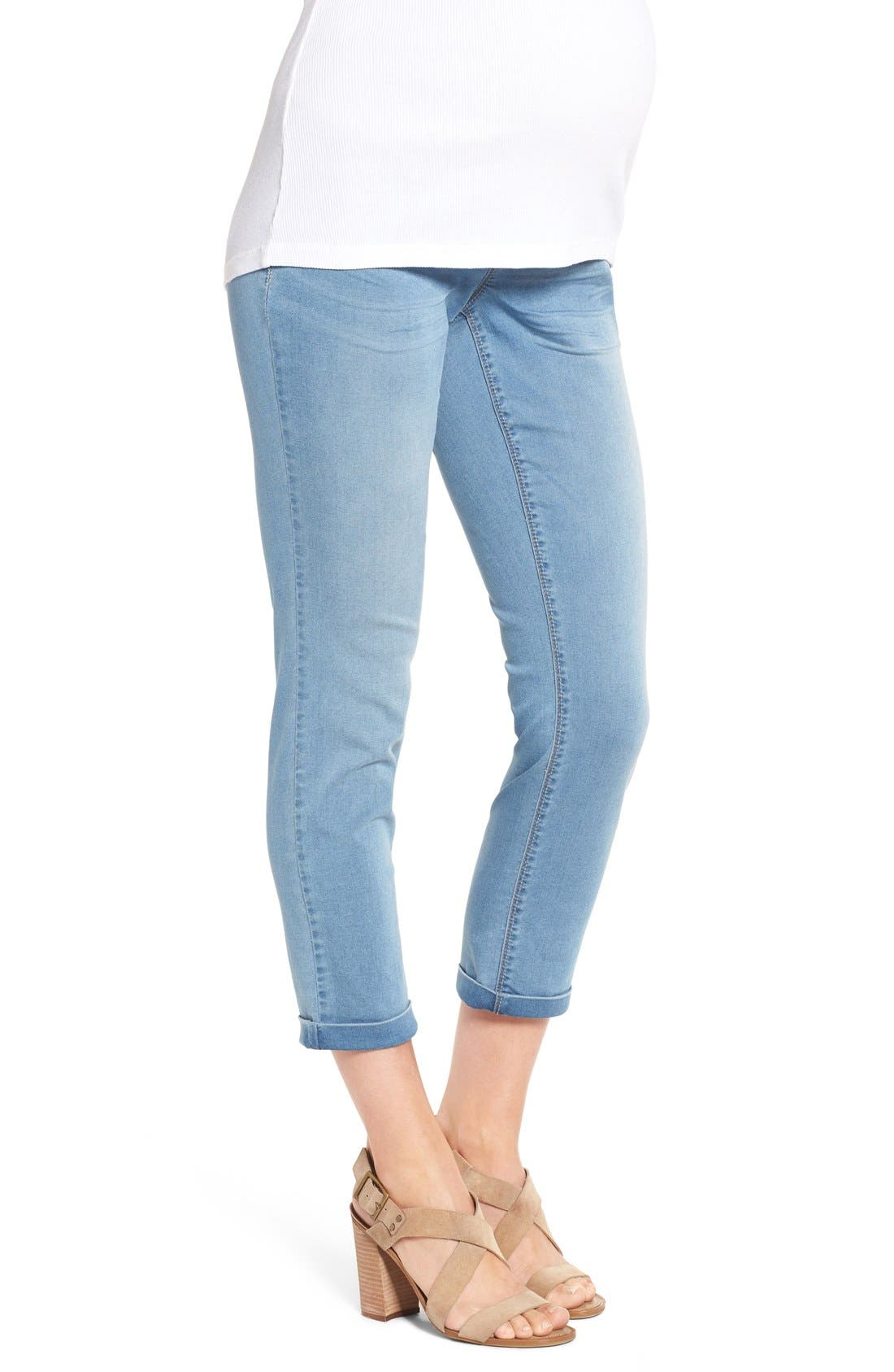 'Ankle Biter' Over the Bump Rolled Cuff Maternity Skinny Jeans,                             Alternate thumbnail 3, color,                             452