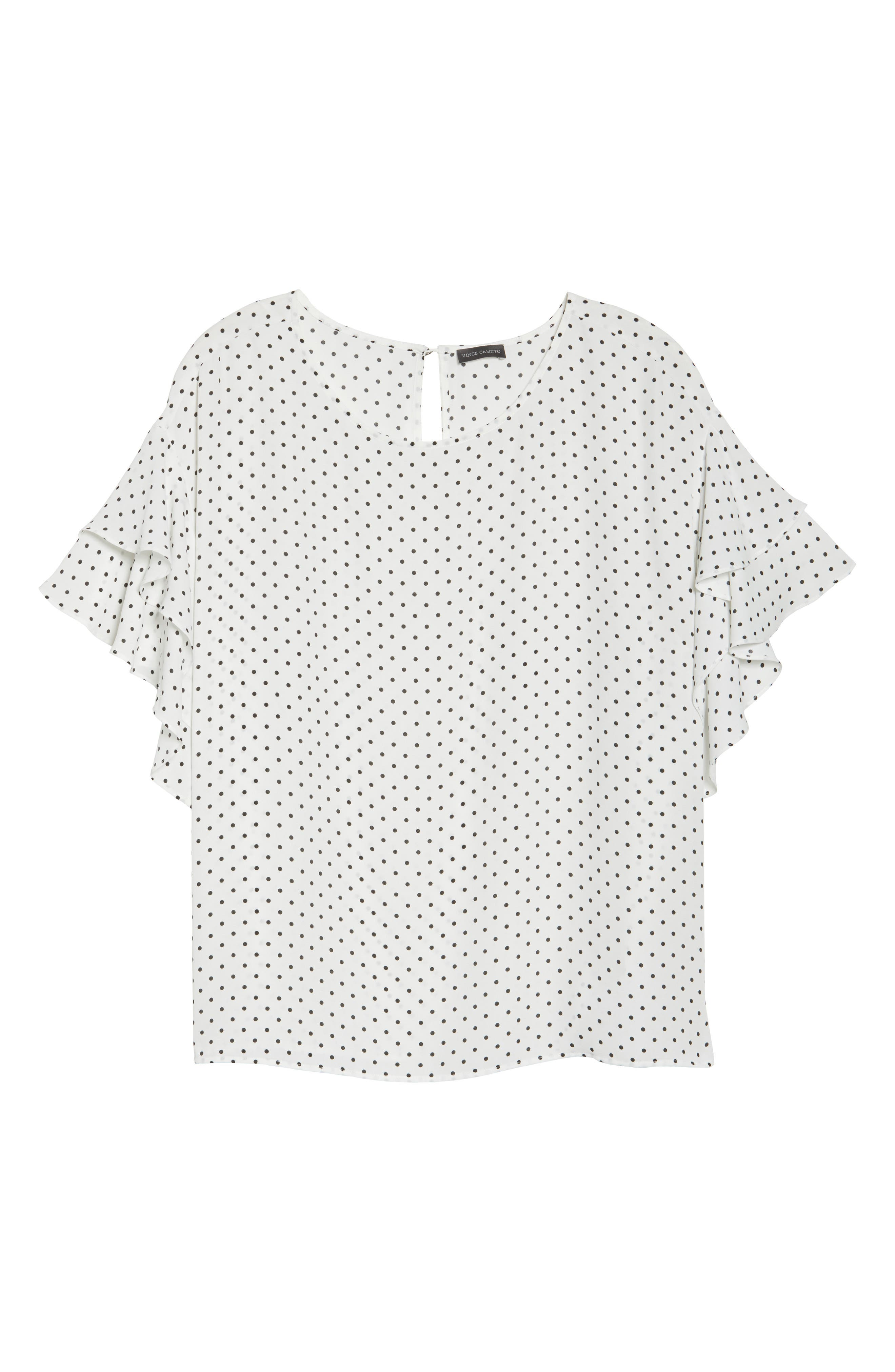 Poetic Dots Tiered Ruffle Sleeve Blouse,                             Alternate thumbnail 6, color,                             903
