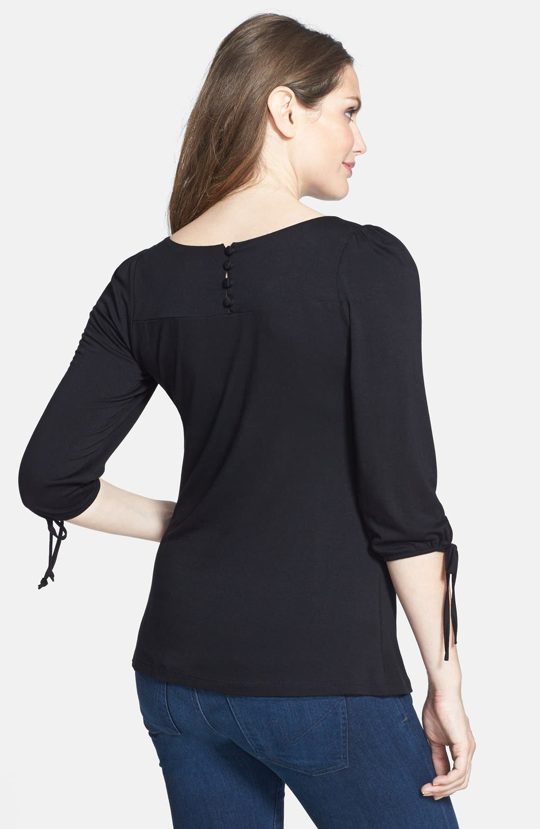 Maternity Tie Sleeve Top,                             Alternate thumbnail 7, color,                             BLACK