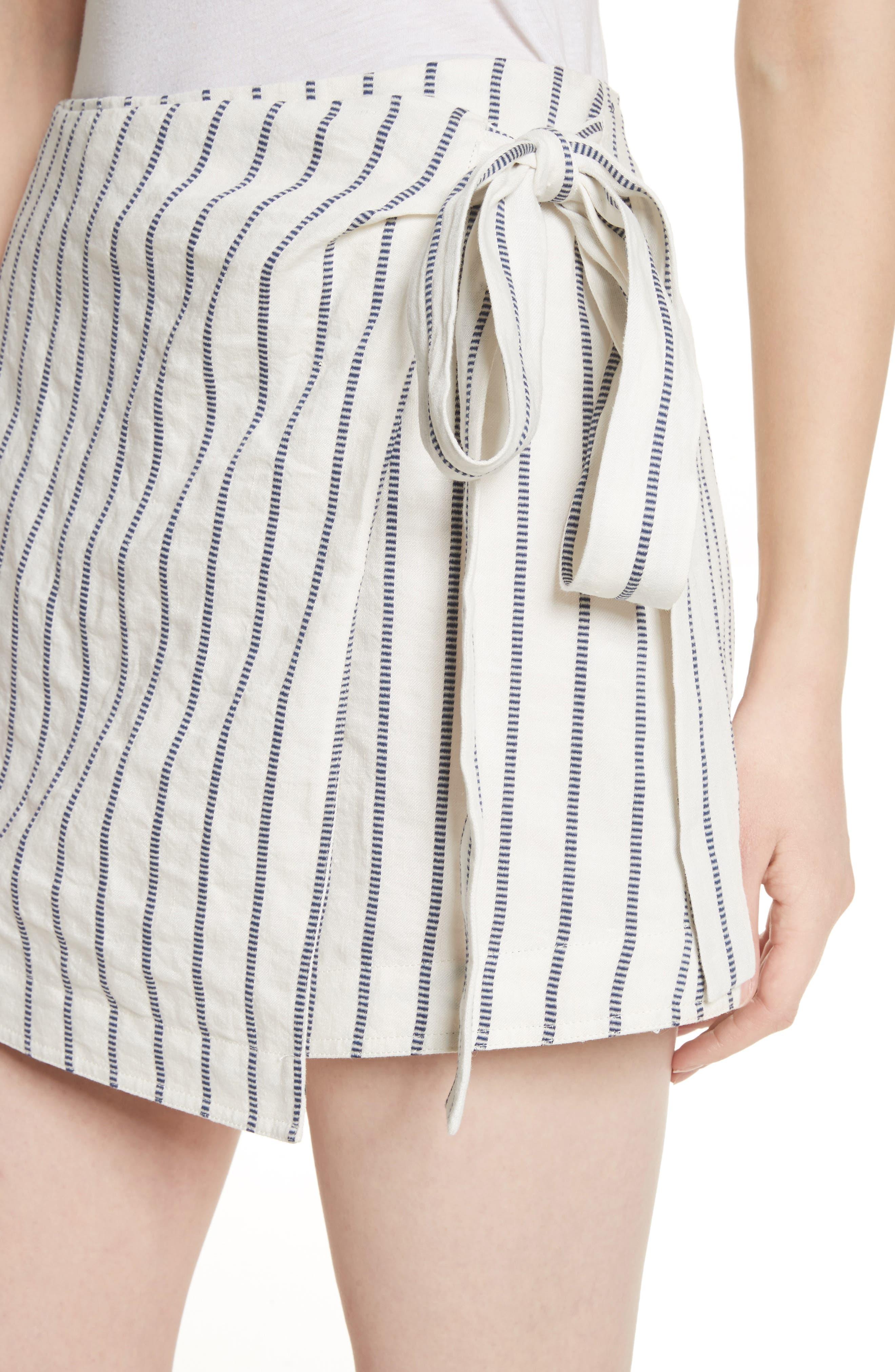 Tie Wrap Stripe Miniskirt,                             Alternate thumbnail 4, color,                             497