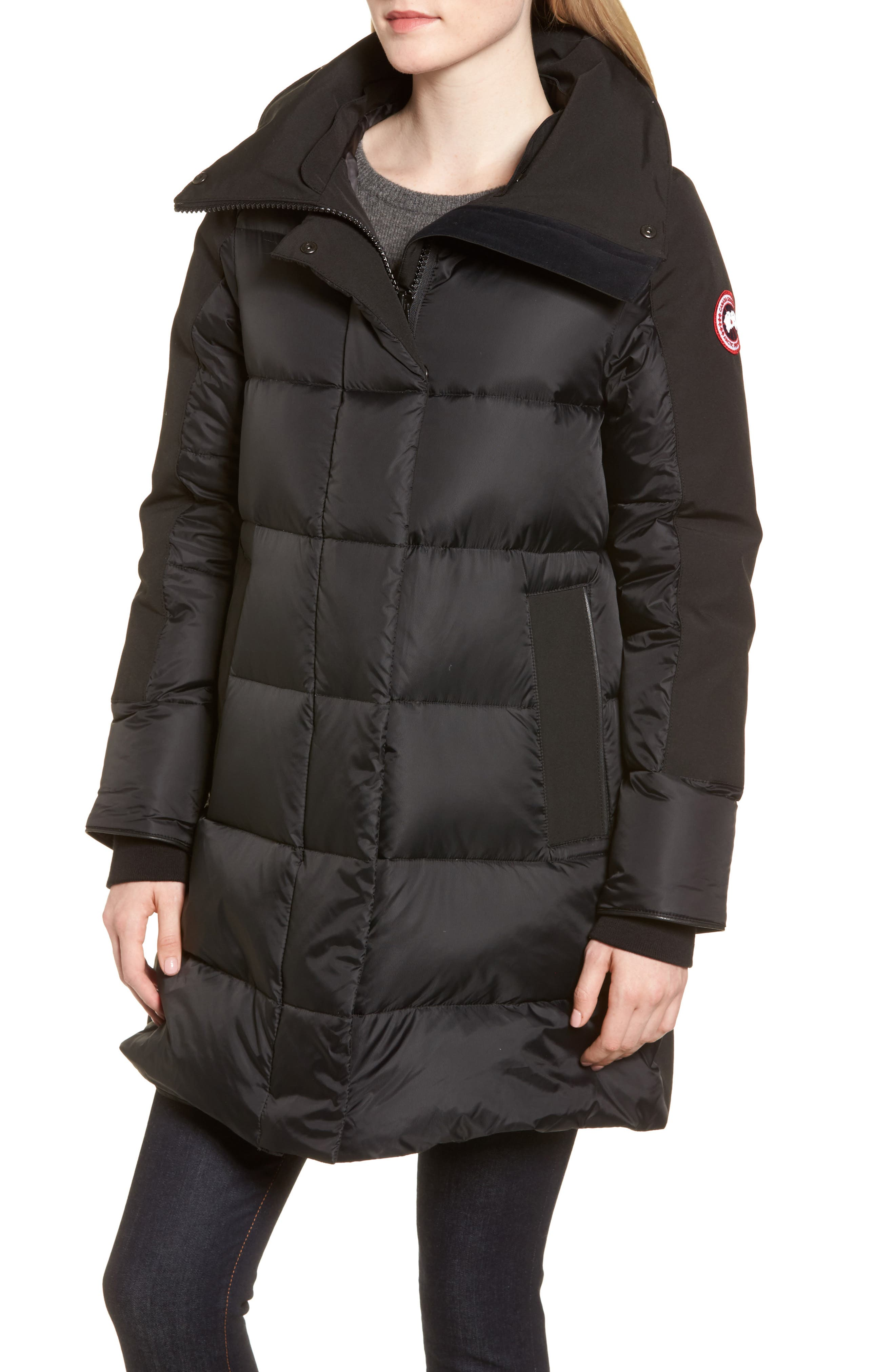 Altona Water Resistant 750-Fill Power Down Parka with Genuine Shearling Collar,                             Alternate thumbnail 4, color,                             BLACK