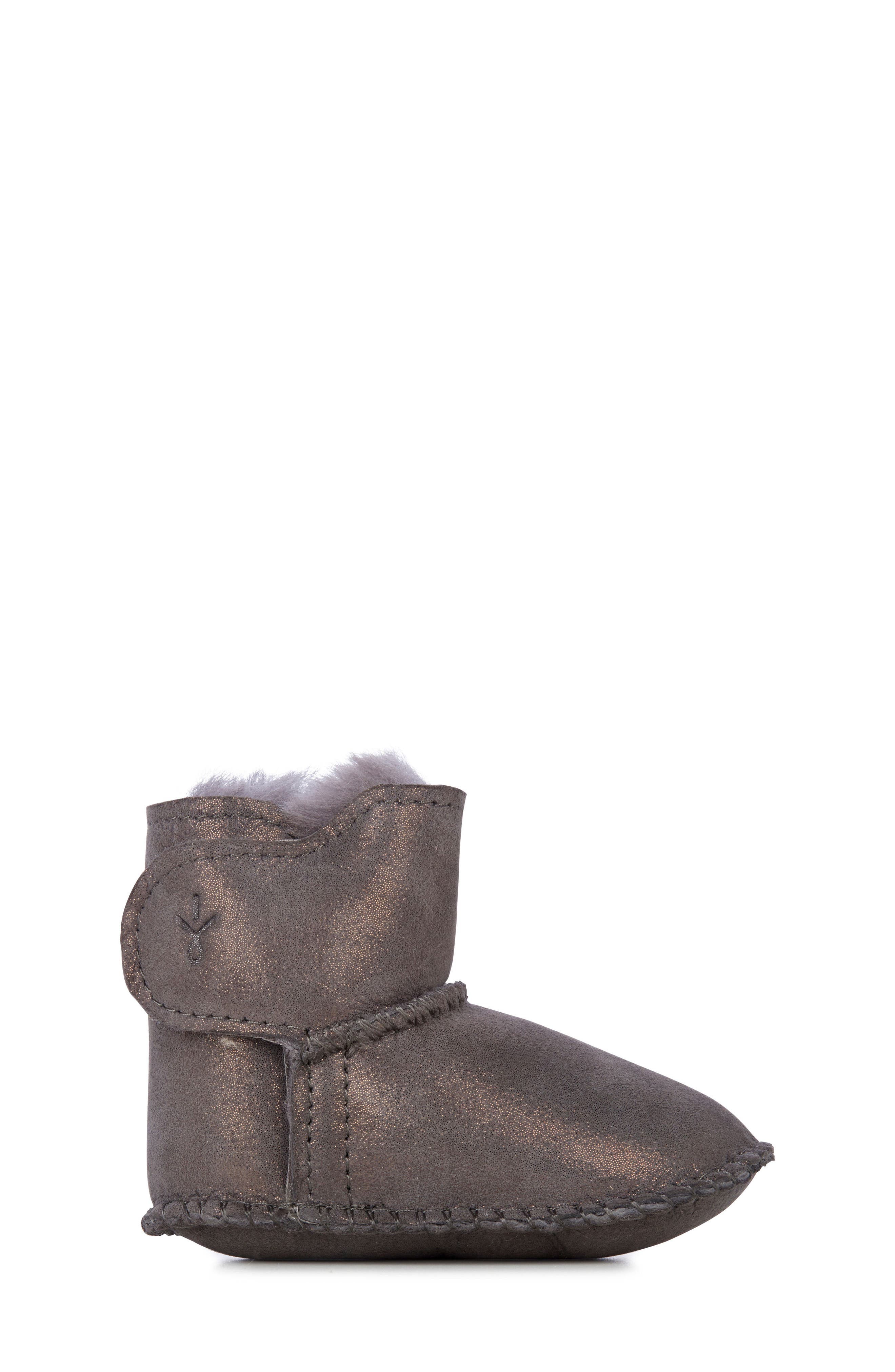 Water Resistant Metallic Bootie,                             Alternate thumbnail 3, color,                             CHARCOAL