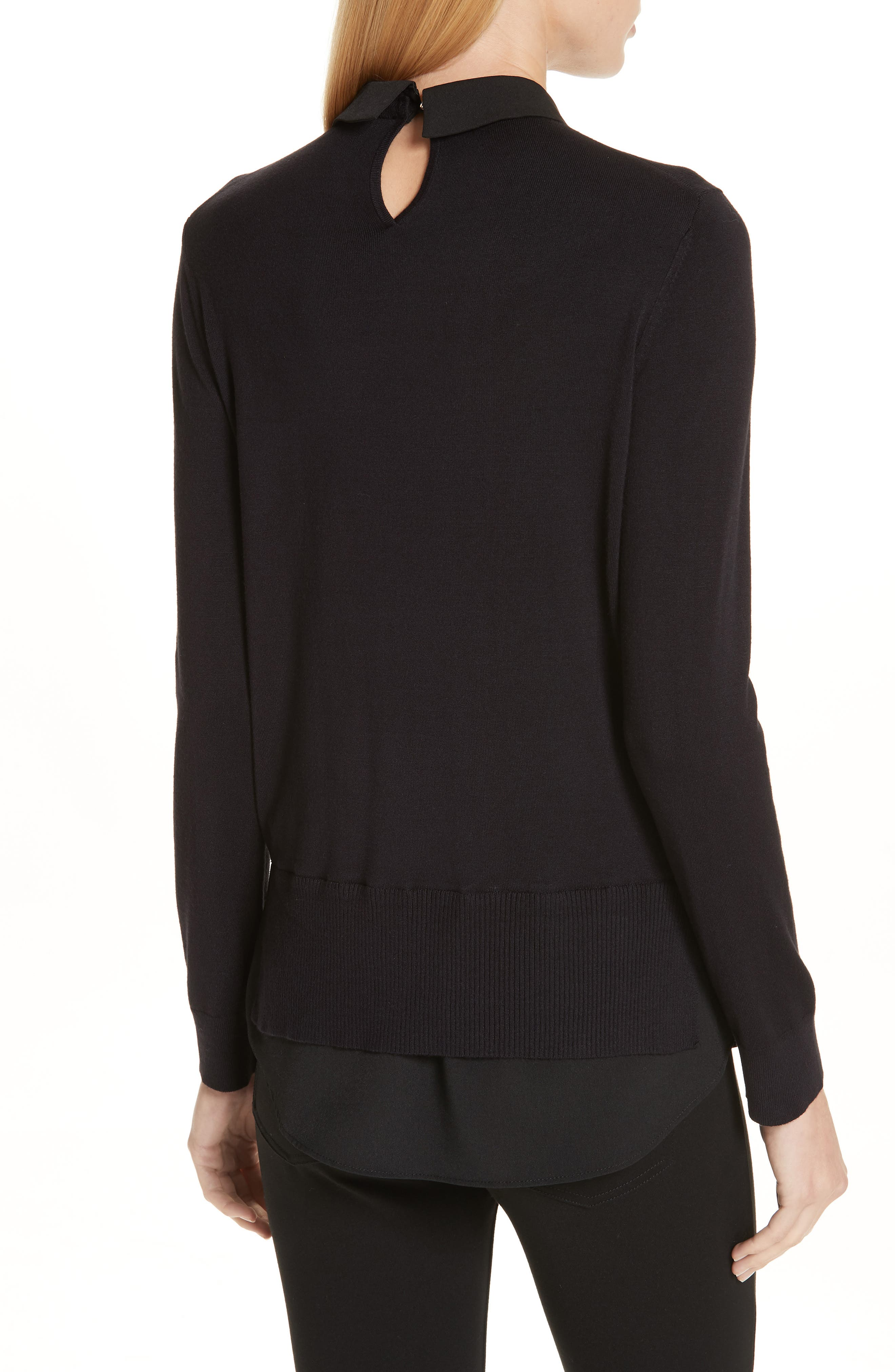 Moliiee Embroidered Collar Sweater,                             Alternate thumbnail 2, color,                             BLACK