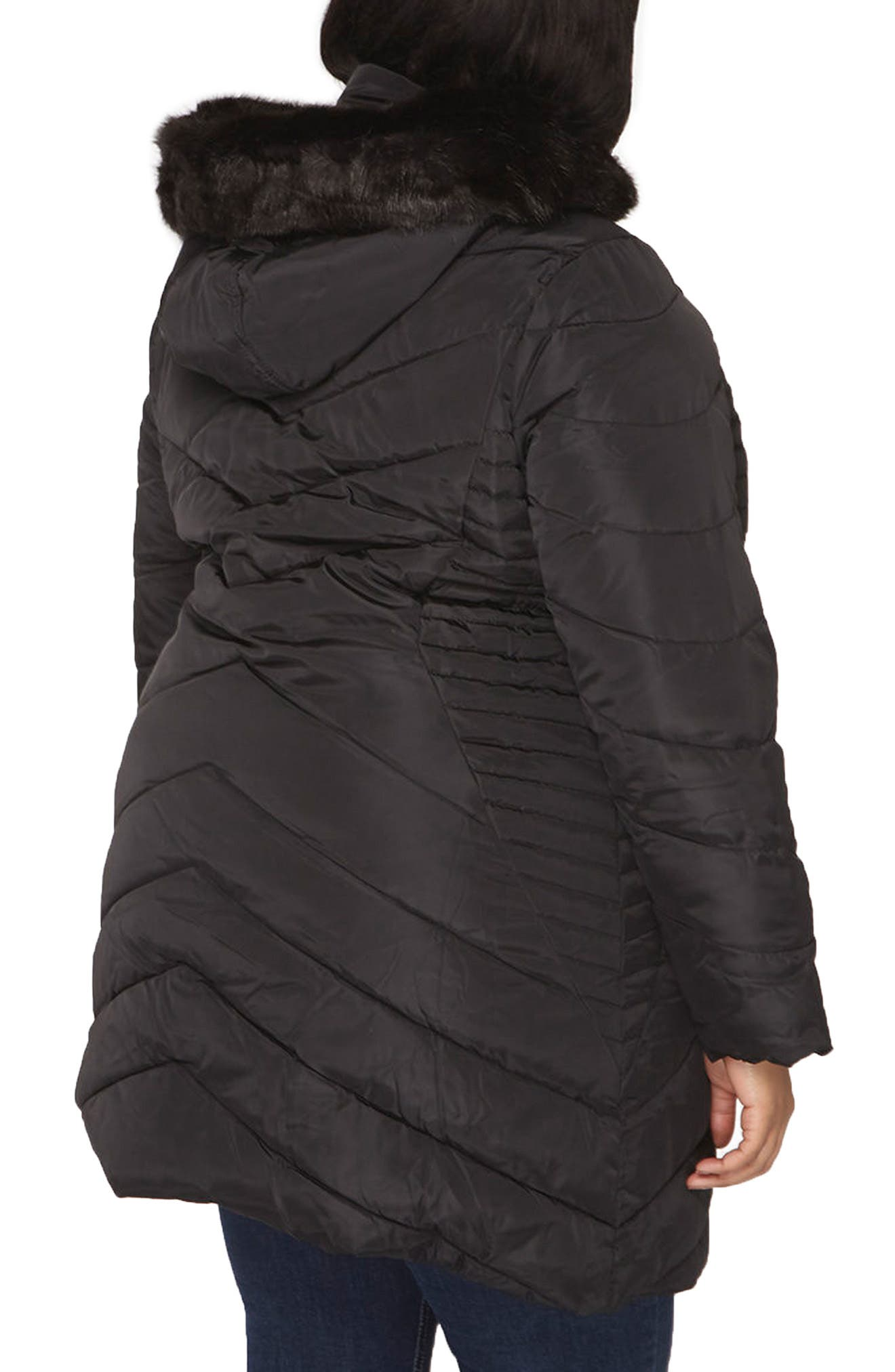 Faux Fur Trim Hooded Puffer Coat,                             Alternate thumbnail 3, color,