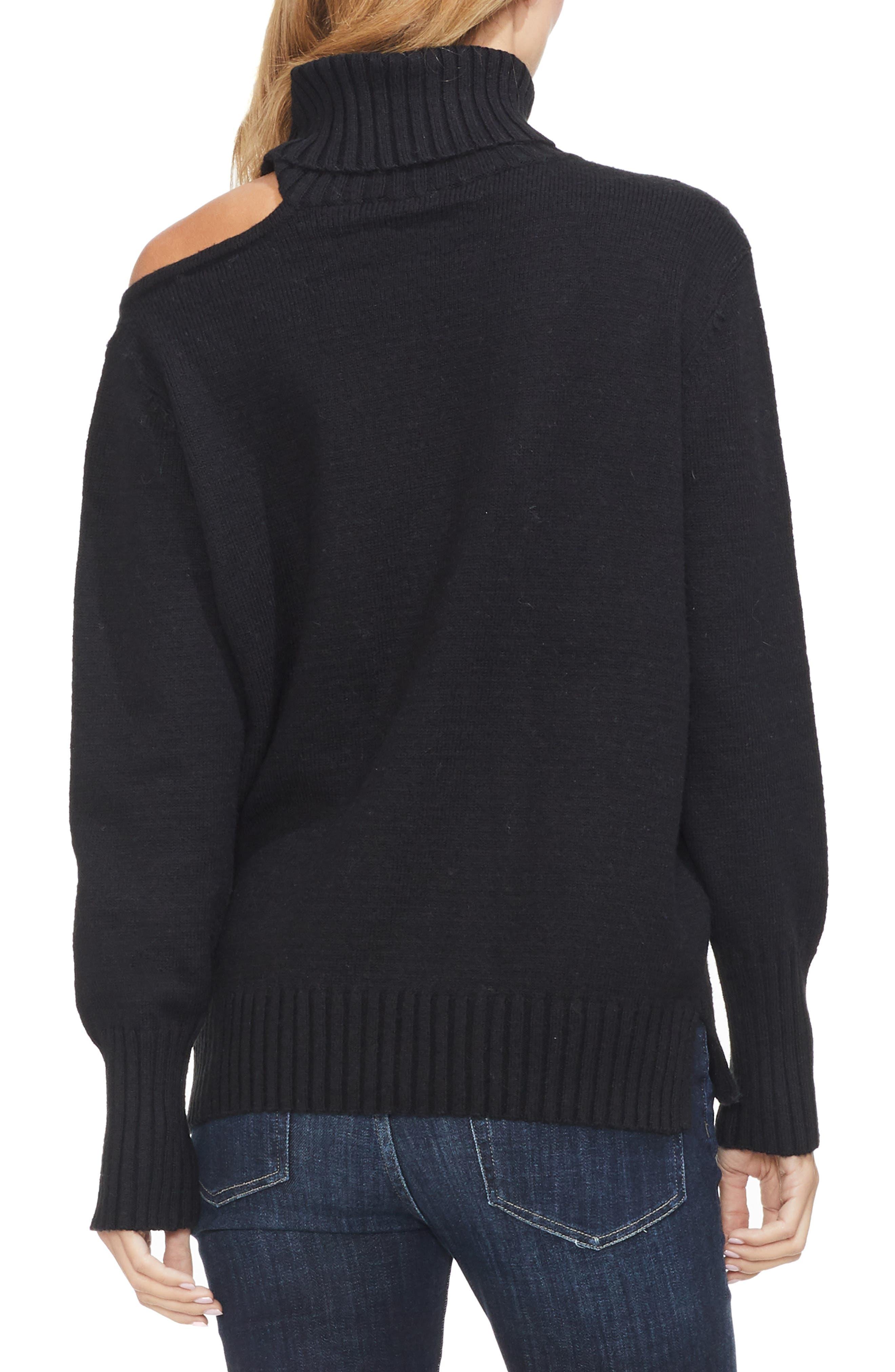 Asymmetrical Shoulder Cutout Turtleneck Cotton Blend Sweater,                             Alternate thumbnail 2, color,                             006