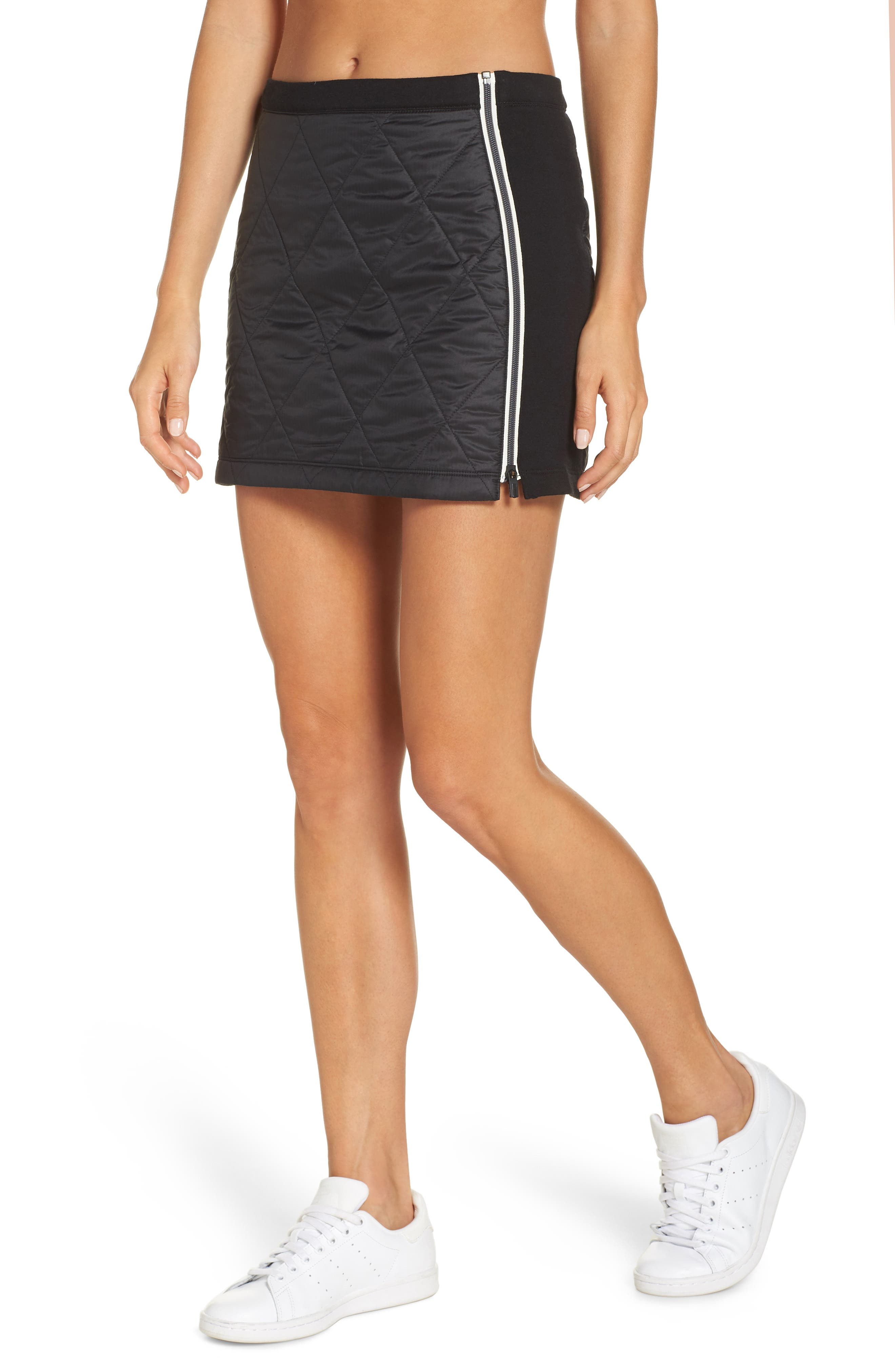 Helix Quilted Wool Blend Skirt,                             Main thumbnail 1, color,                             BLACK