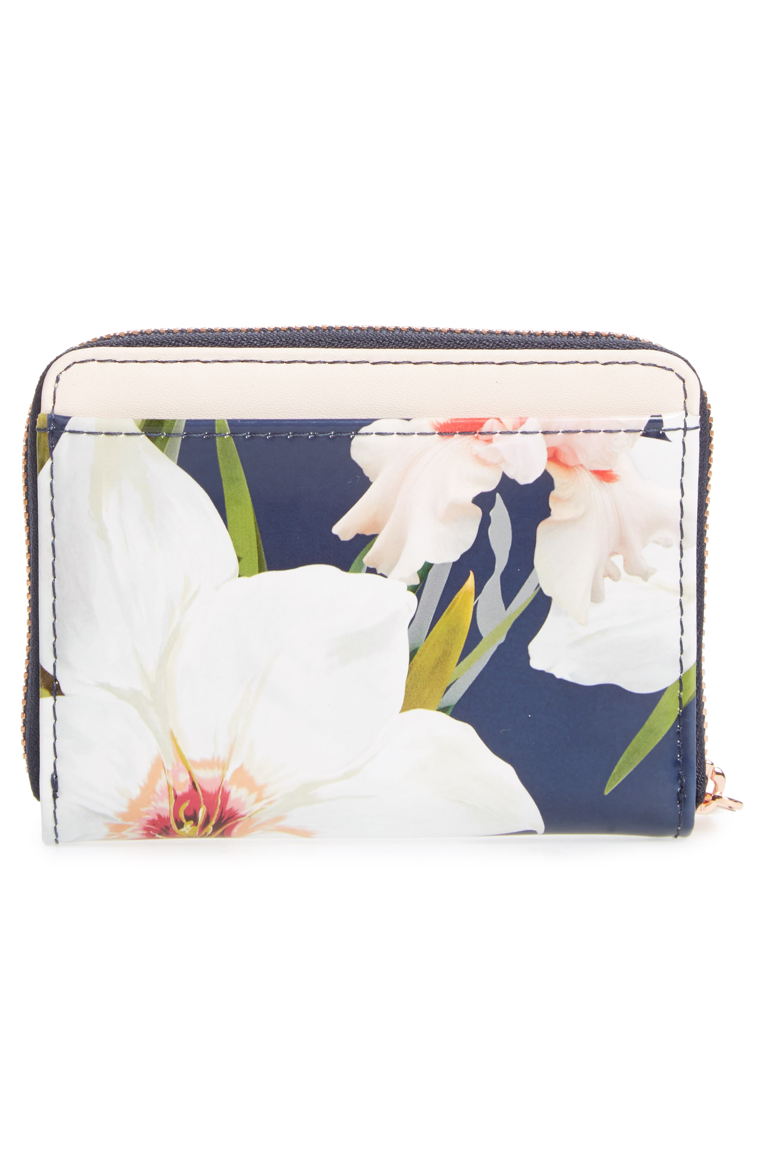 Vallie Chatsworth Bloom Leather Zip Coin Purse,                             Alternate thumbnail 8, color,