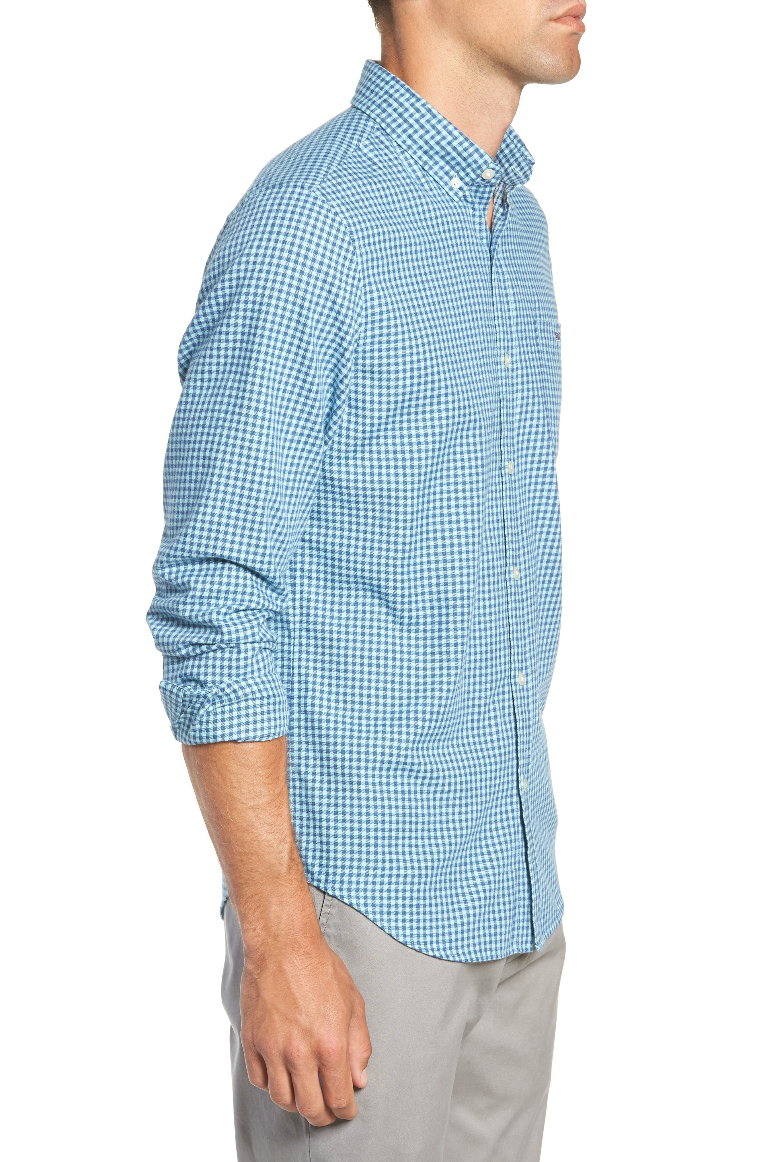 Tradewinds Slim Fit Check Flannel Shirt,                             Alternate thumbnail 4, color,                             POOL SIDE