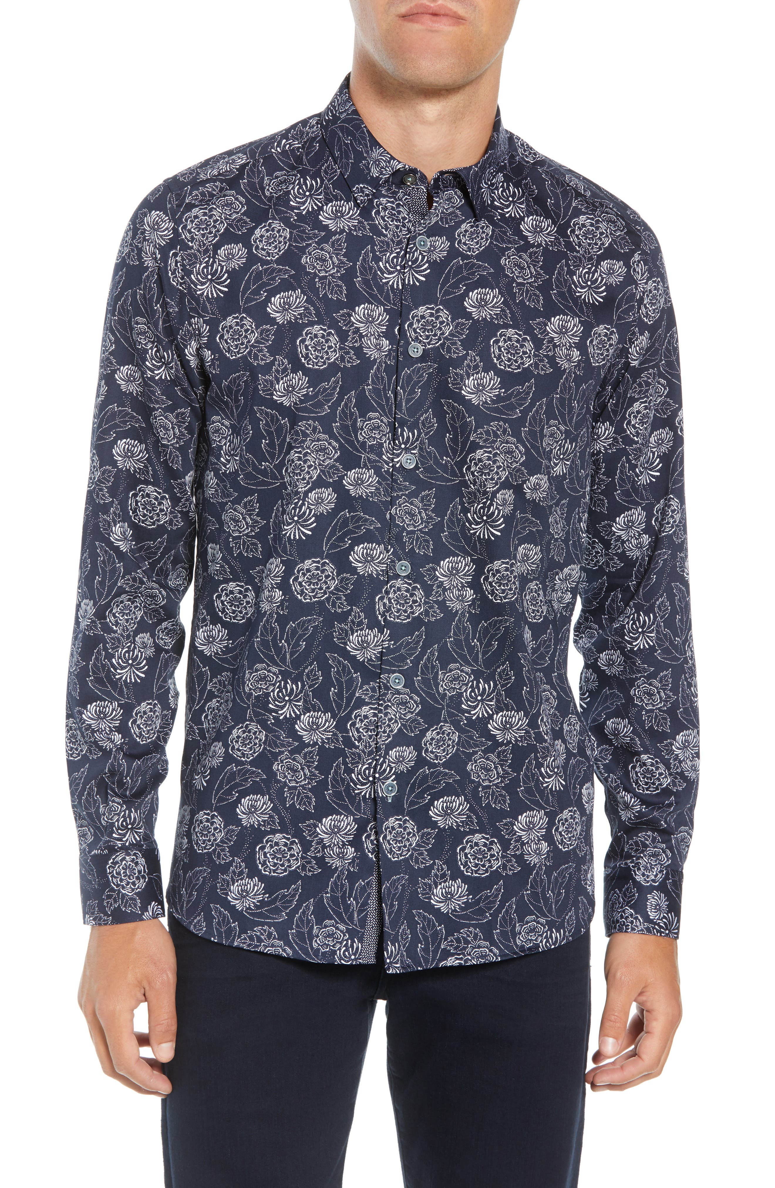 TED BAKER Teval Dotted Floral Regular Fit Button-Down Shirt in Navy