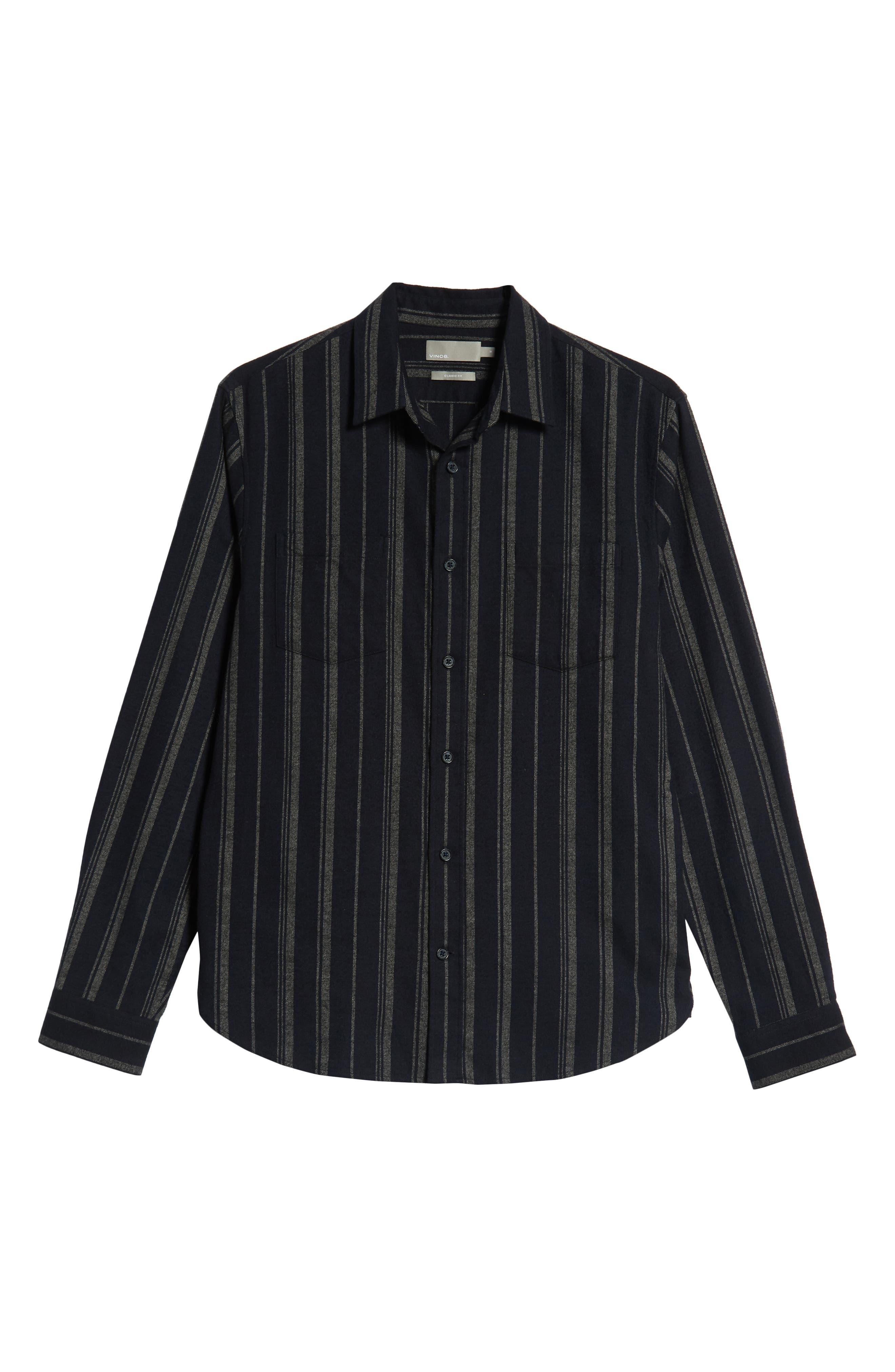 Stripe Flannel Shirt,                             Alternate thumbnail 5, color,                             COASTAL