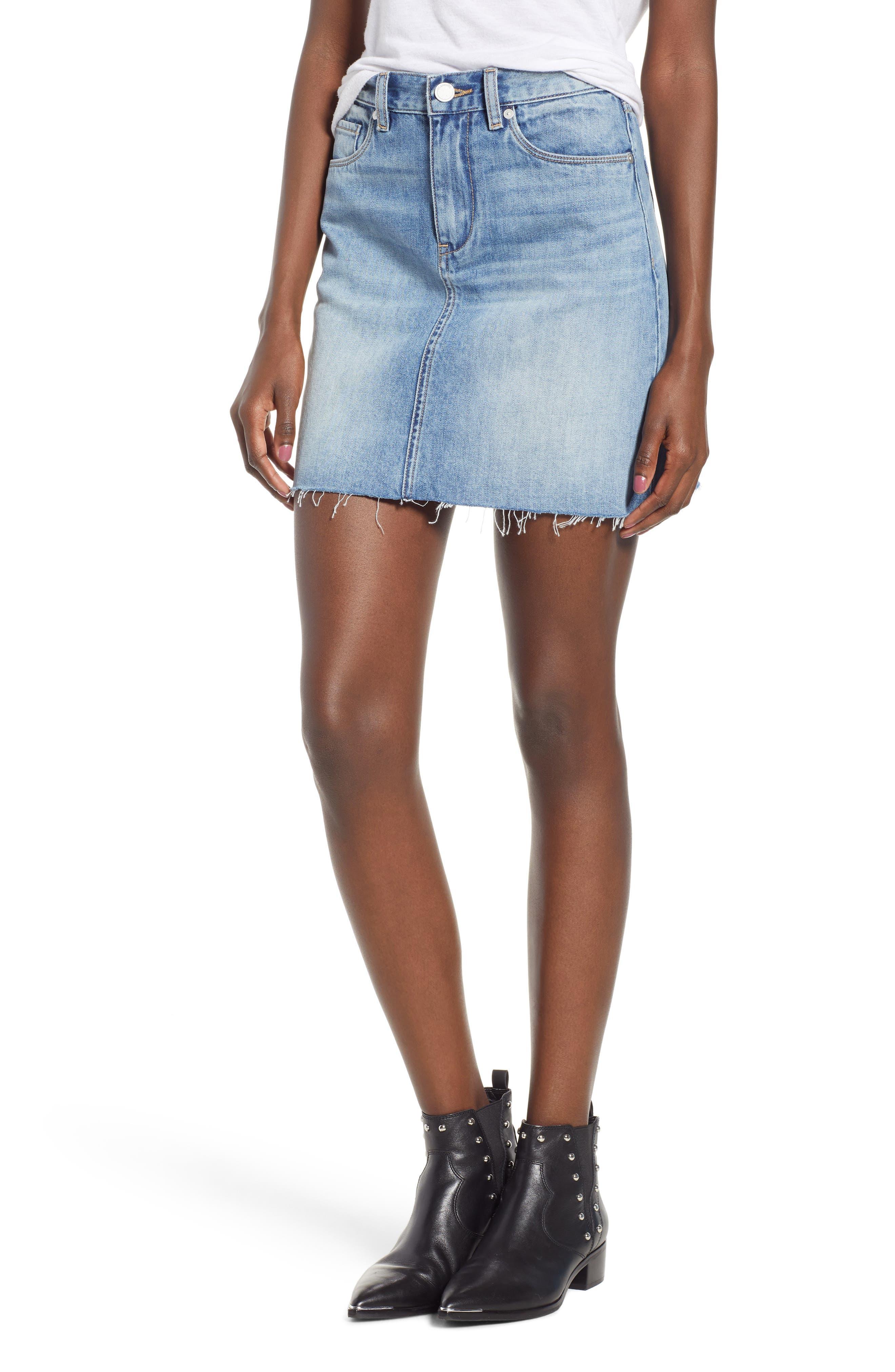 Raw Hem Denim Skirt,                         Main,                         color, 420