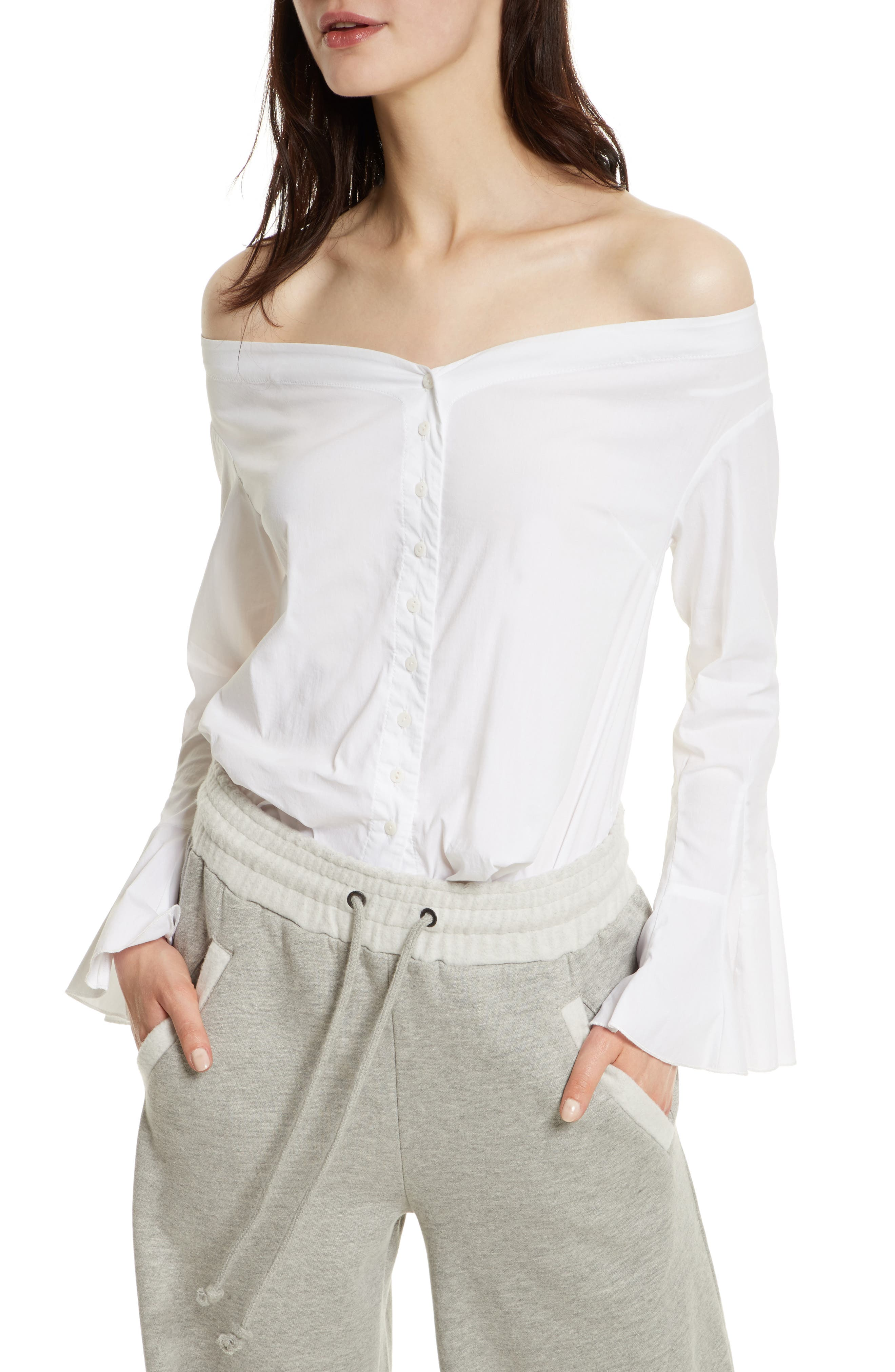 March to the Beat Off the Shoulder Top,                         Main,                         color, 100