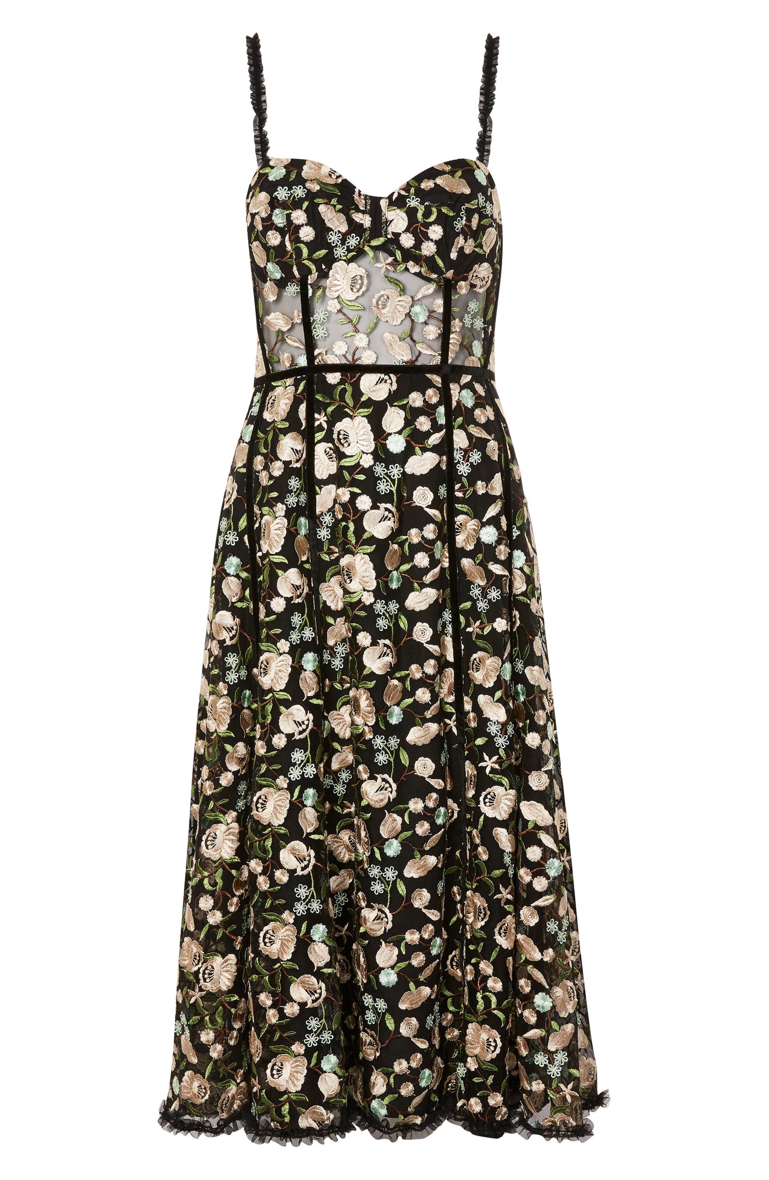 Floral Corset Midi Dress,                             Alternate thumbnail 4, color,