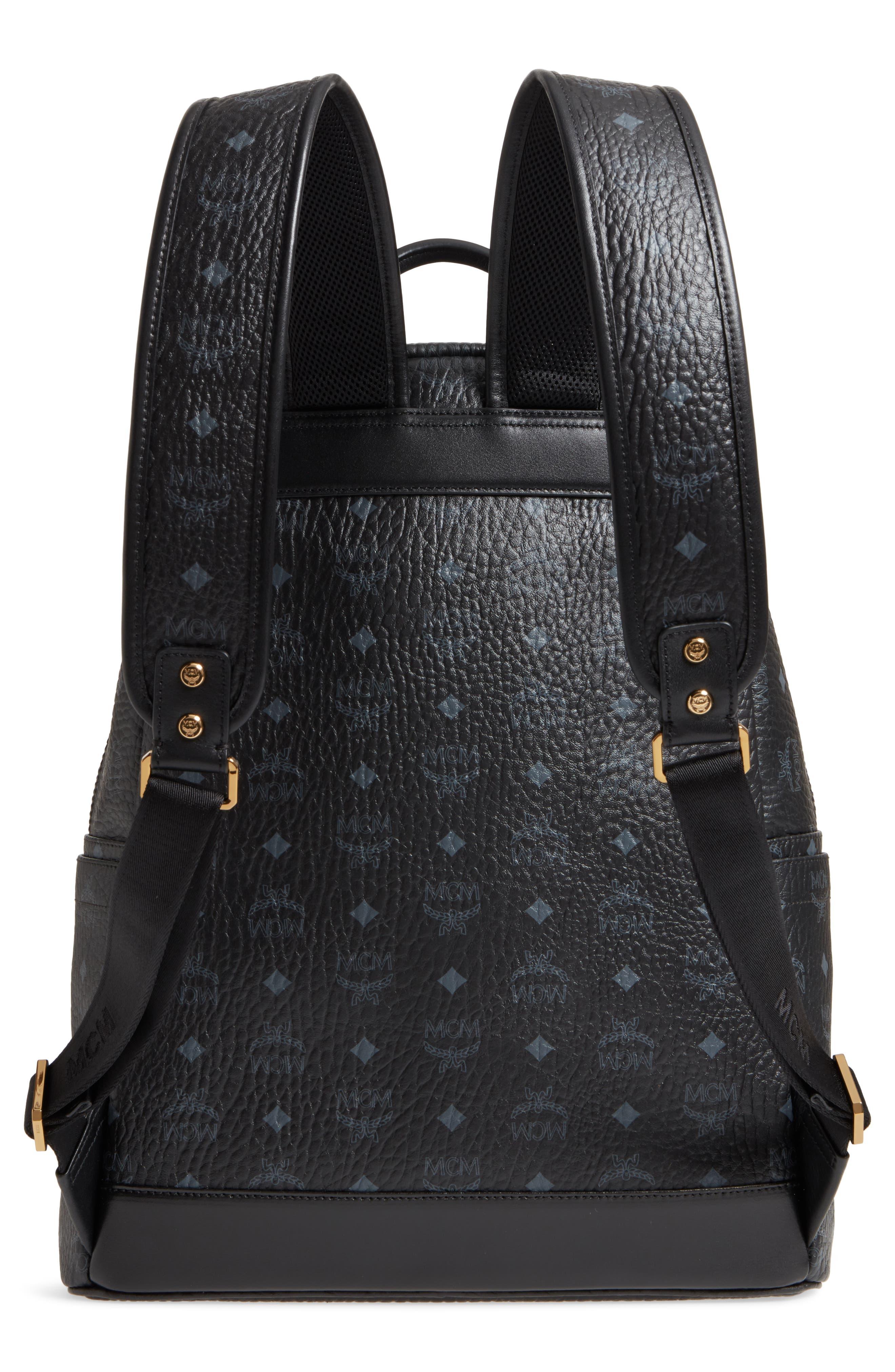 MCM,                             Medium Stark - Visetos Studded Logo Backpack,                             Alternate thumbnail 3, color,                             BLACK