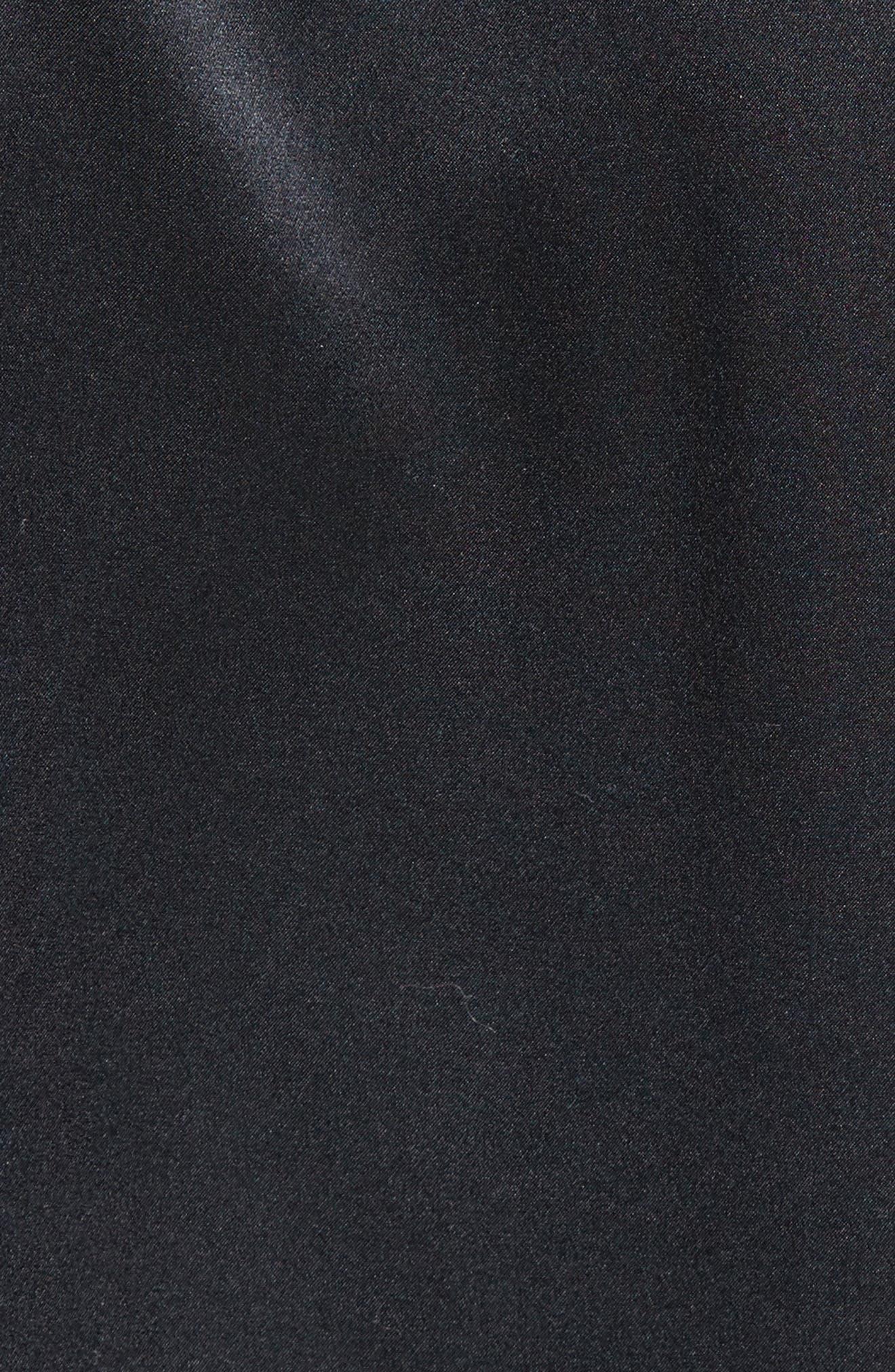 Silk Wrap Shirt Bodysuit,                             Alternate thumbnail 5, color,                             001