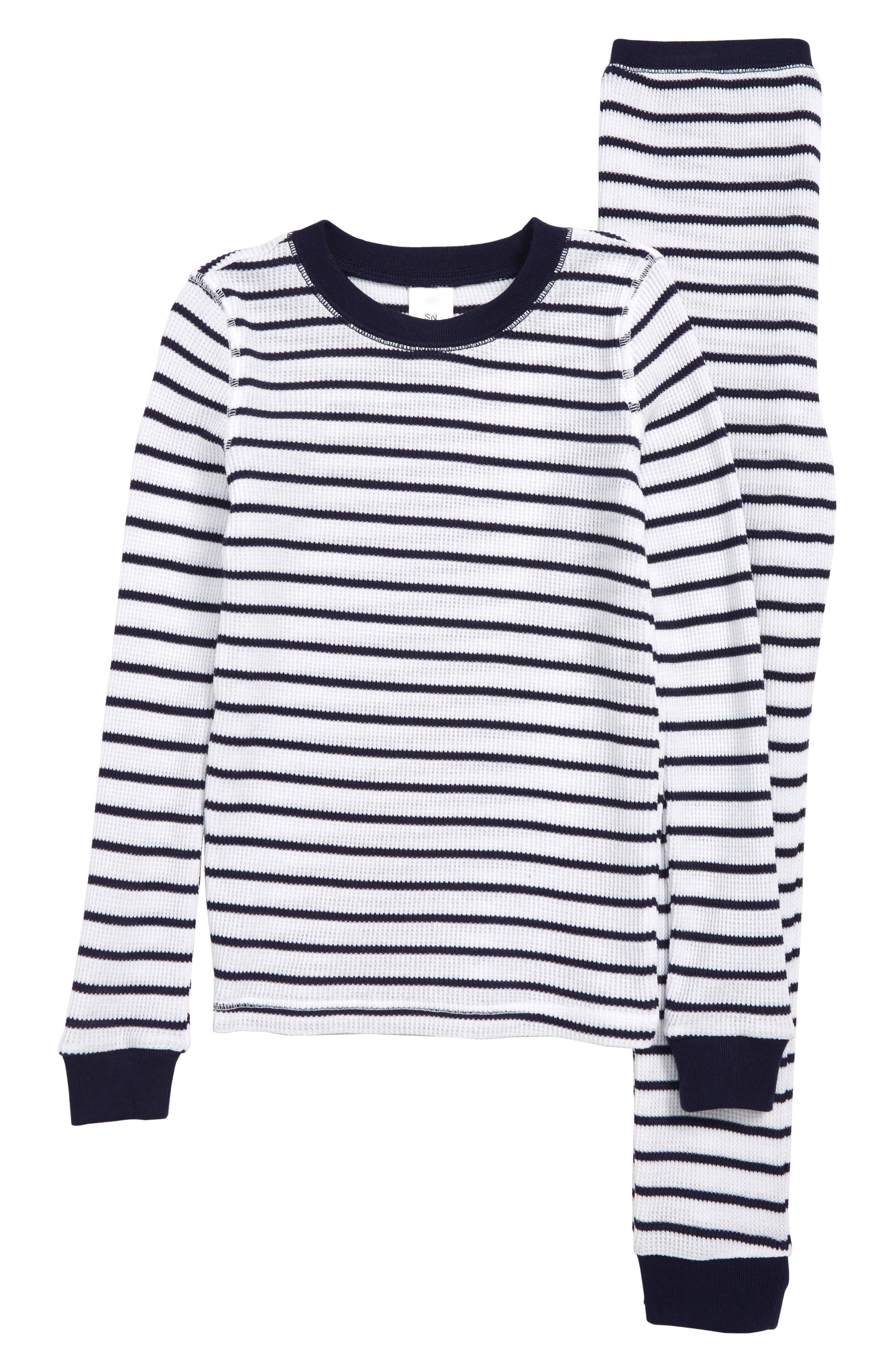 Toddler Girls Something Navy Thermal Fitted TwoPiece Pajamas Size 3T  White