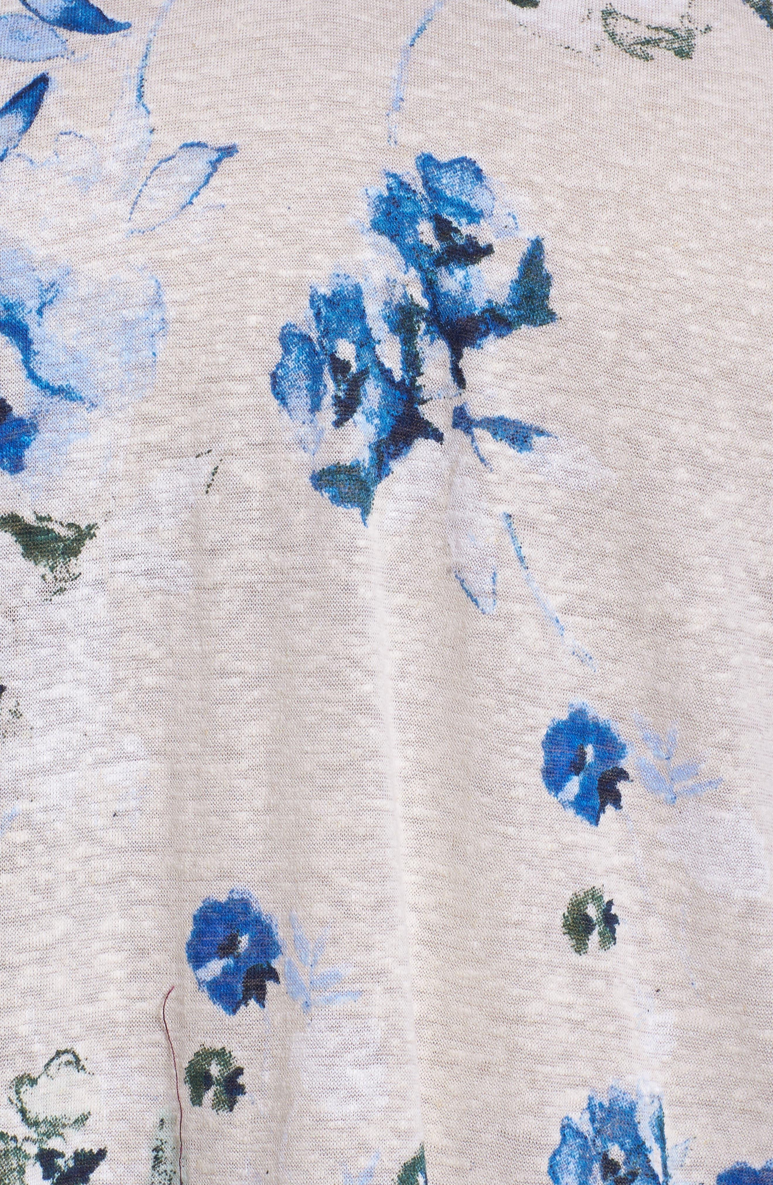Lace Yoke Floral Peasant Top,                             Alternate thumbnail 5, color,