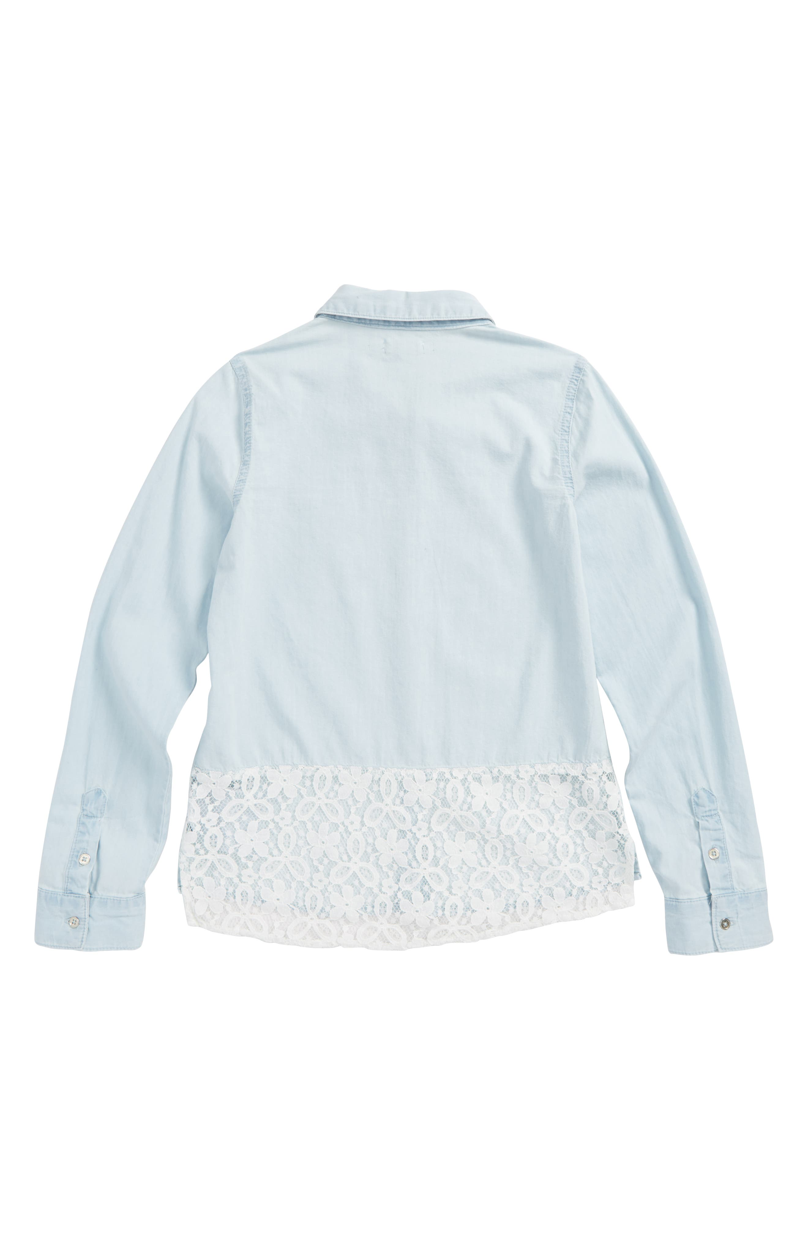 Chambray Lace Trim Shirt,                             Alternate thumbnail 2, color,