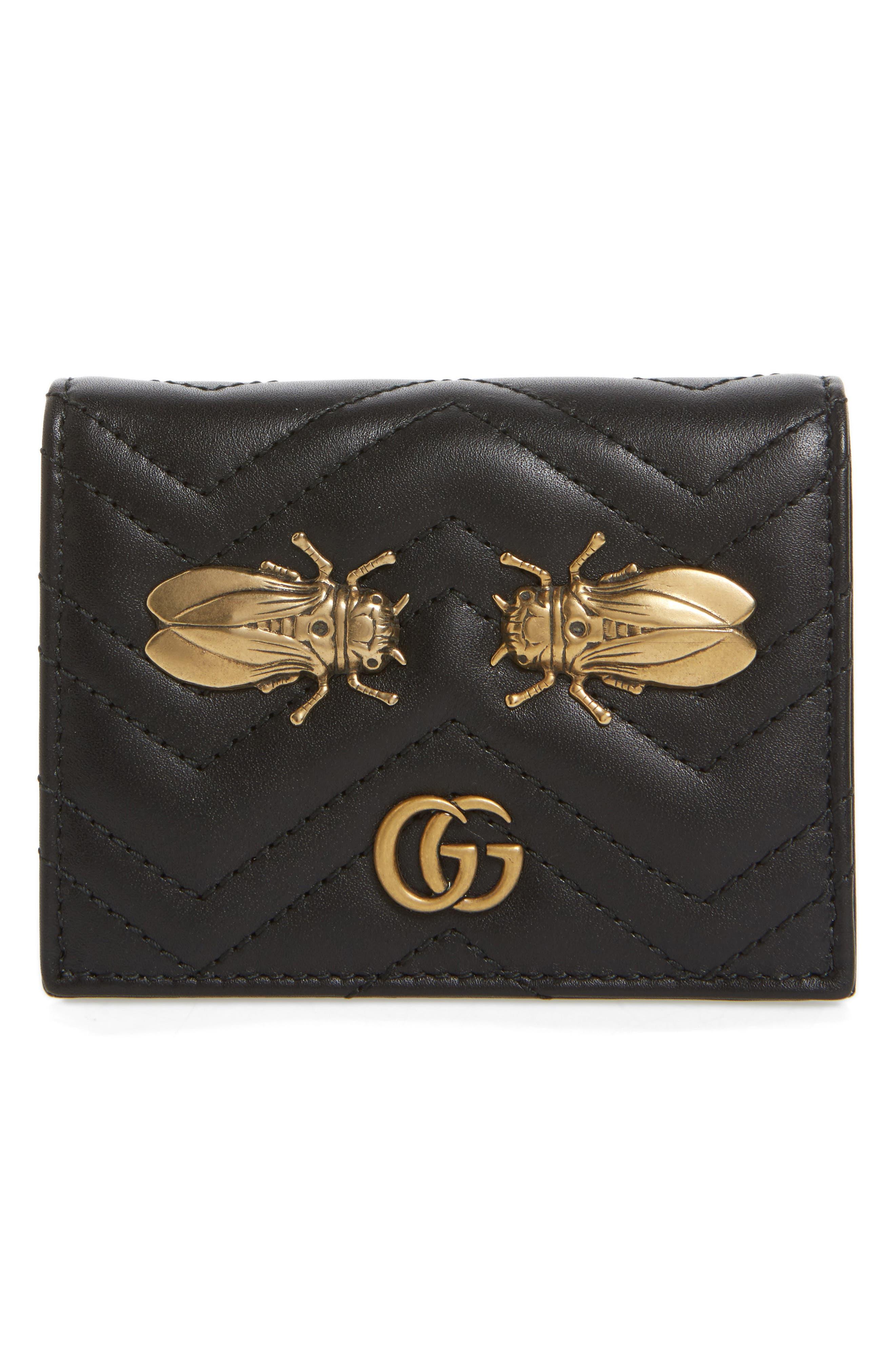 GG Marmont 2.0 Moth Matelassé Leather Card Case, Main, color, 001