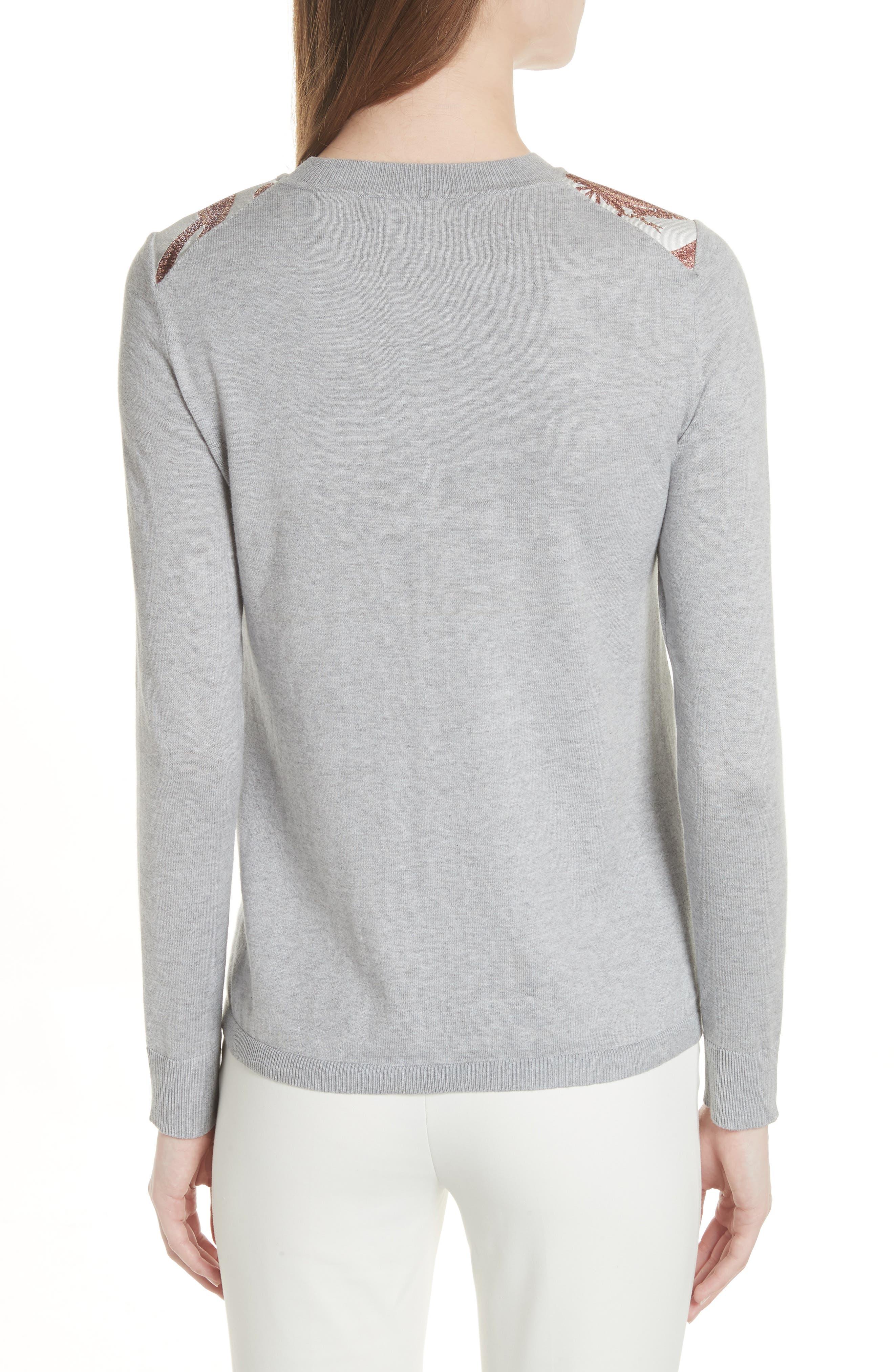 Versailles Jacquard Front Sweater,                             Alternate thumbnail 2, color,                             050