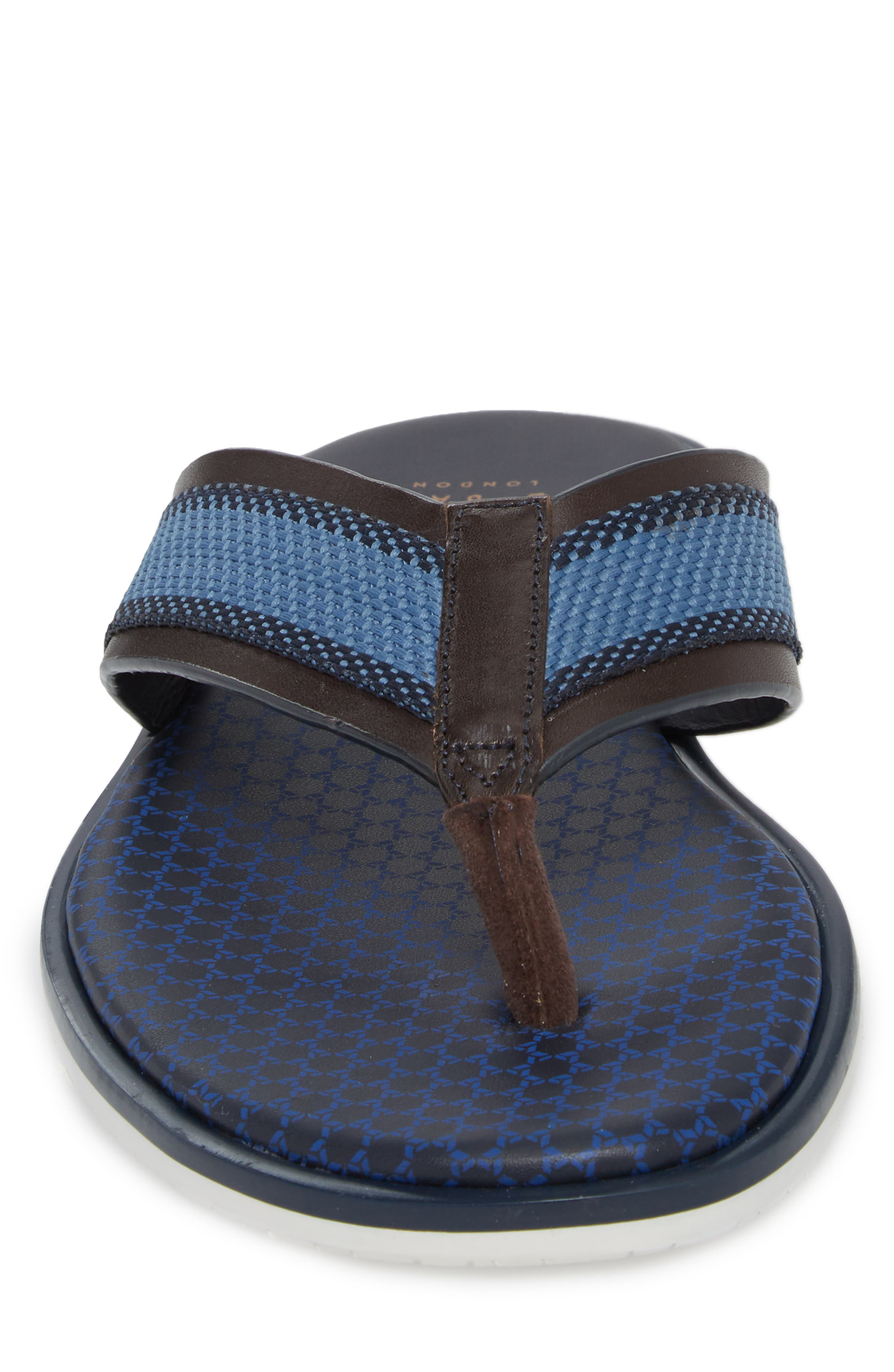 Knowlun Flip Flop,                             Alternate thumbnail 4, color,                             BROWN LEATHER/TEXTILE