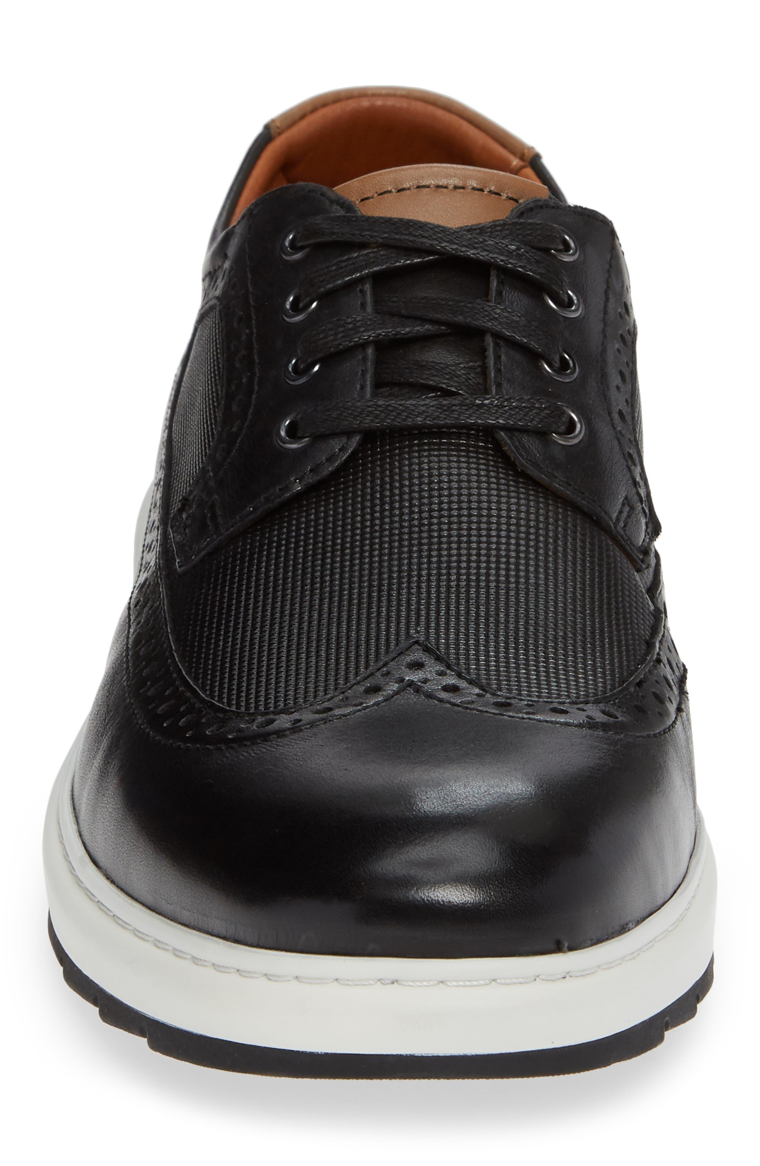 Elliston Wingtip Sneaker,                             Alternate thumbnail 4, color,                             BLACK LEATHER