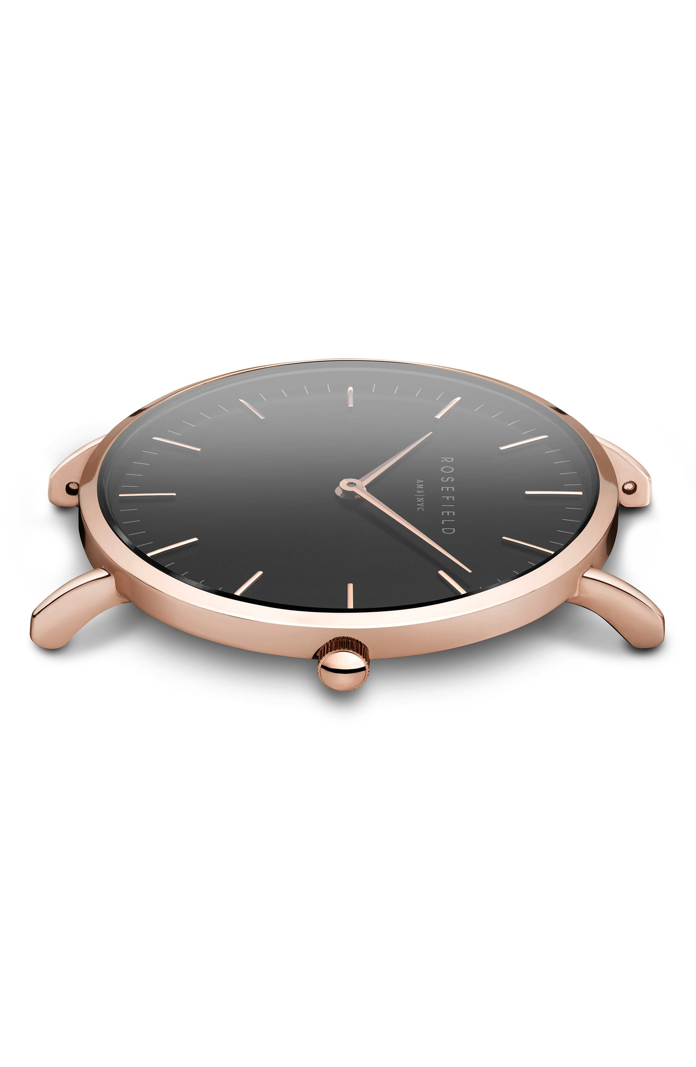 Bowery Leather Strap Watch, 38mm,                             Alternate thumbnail 3, color,                             BLACK/ ROSE GOLD