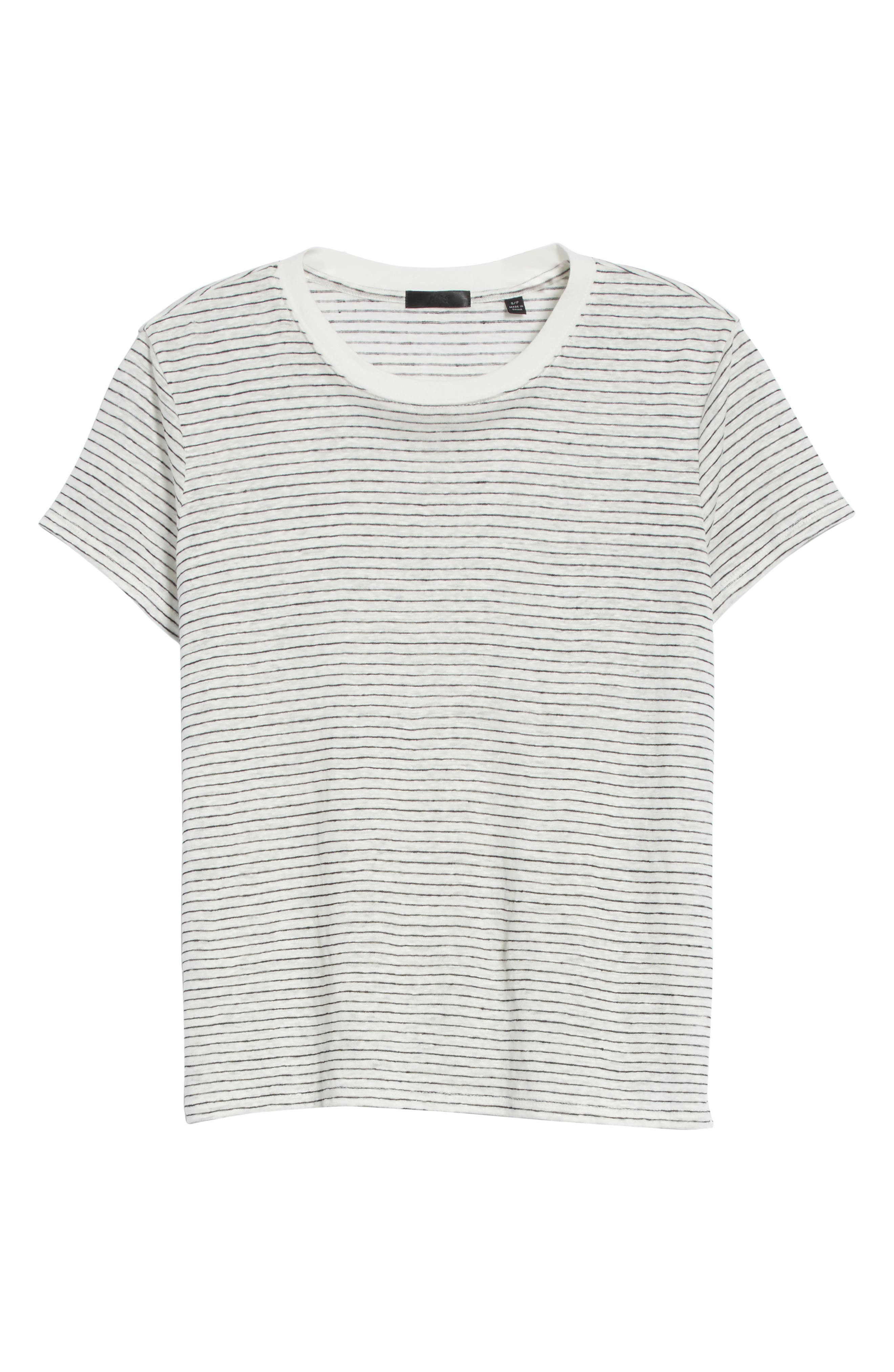 Schoolboy Stripe Linen Tee,                             Alternate thumbnail 6, color,                             107