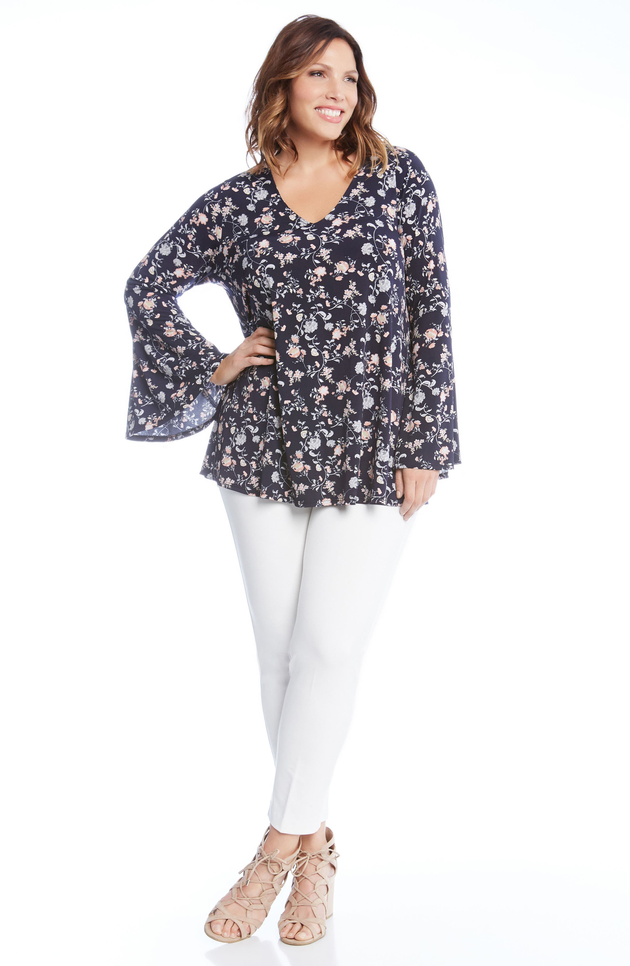 Kane Kane Bell Sleeve Floral Top,                             Alternate thumbnail 3, color,                             460