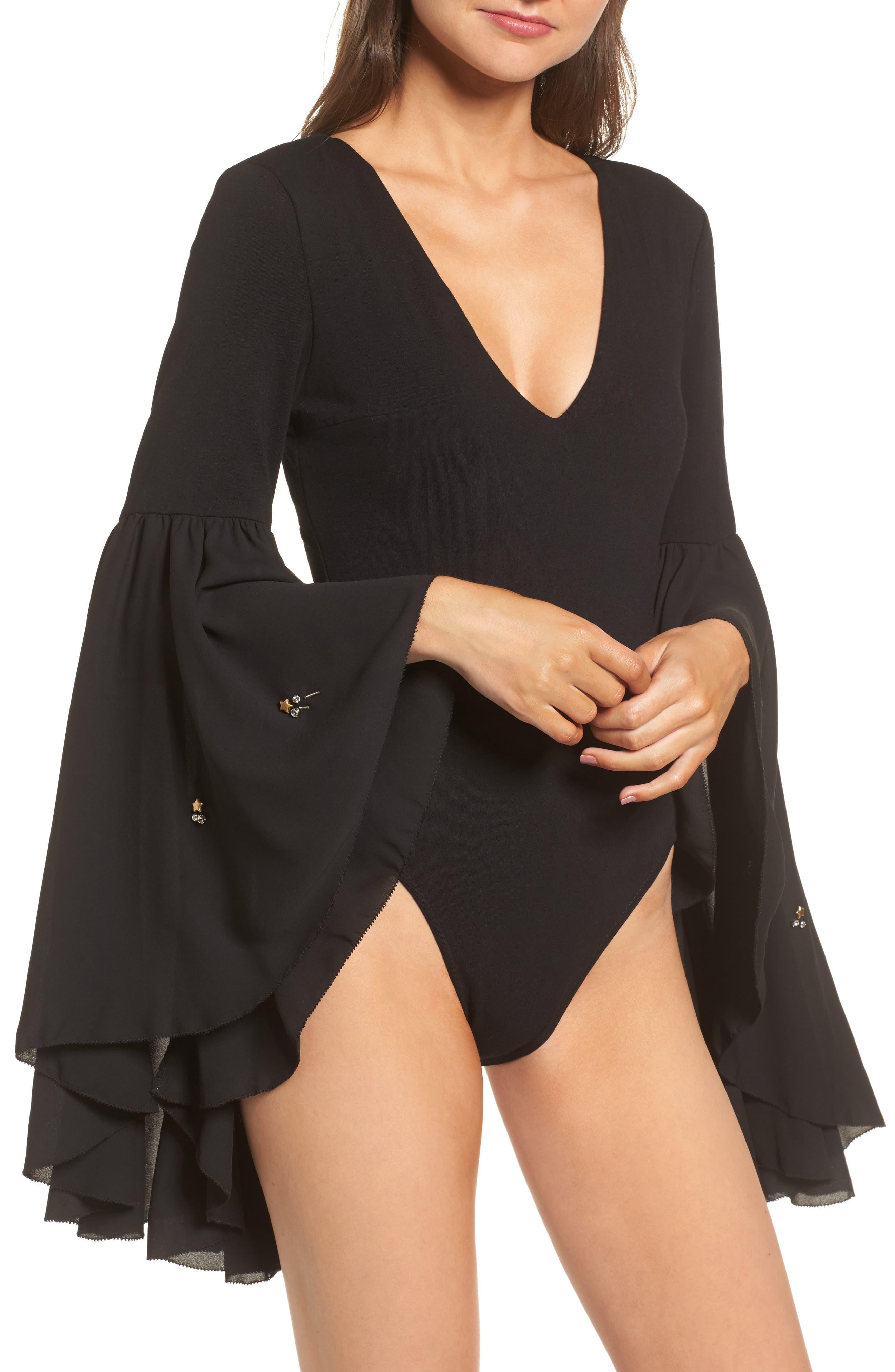 Embellished Flare Sleeve Bodysuit,                             Alternate thumbnail 2, color,