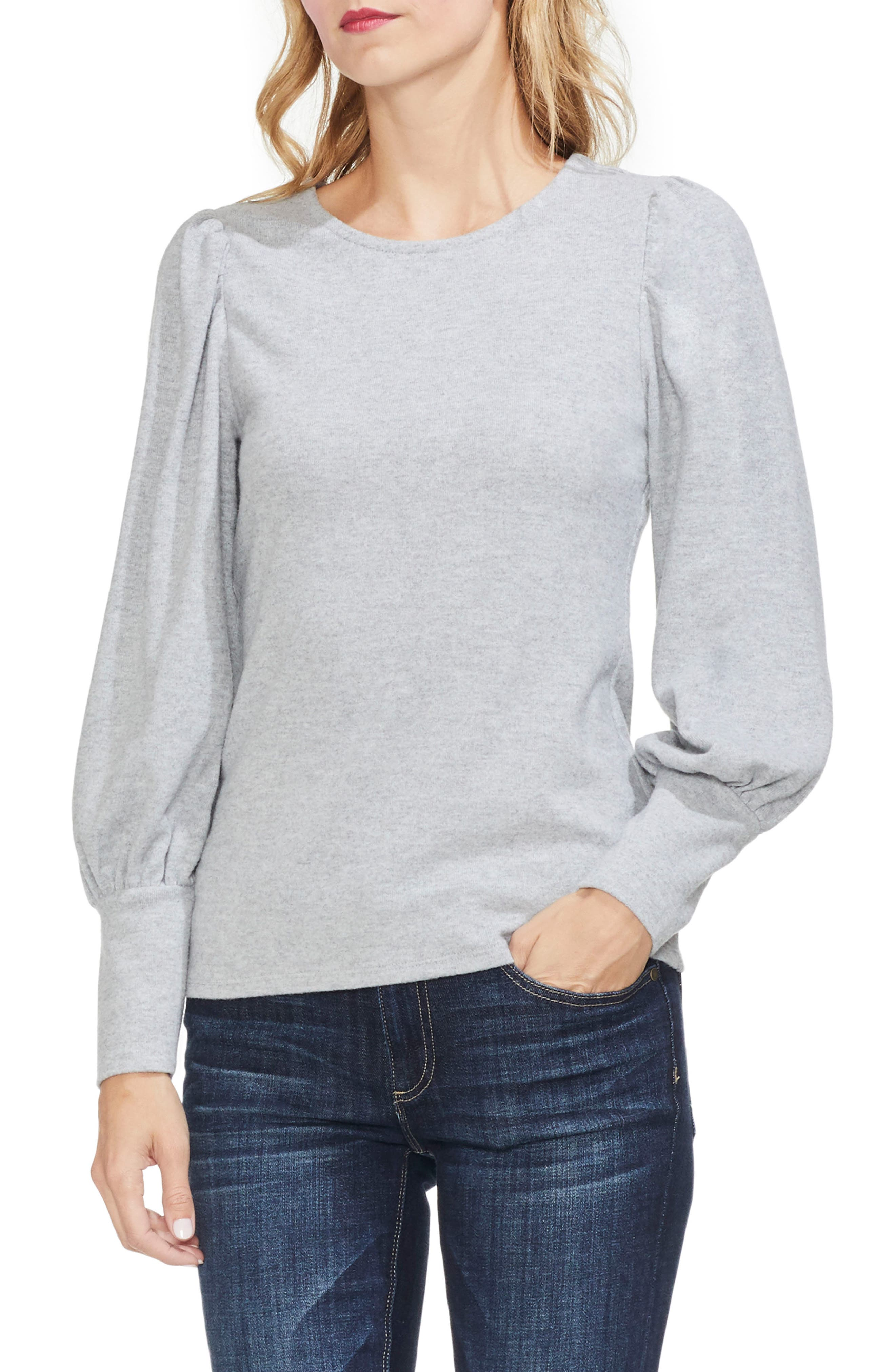 Vince Camuto Bubble Sleeve Knit Top, Grey