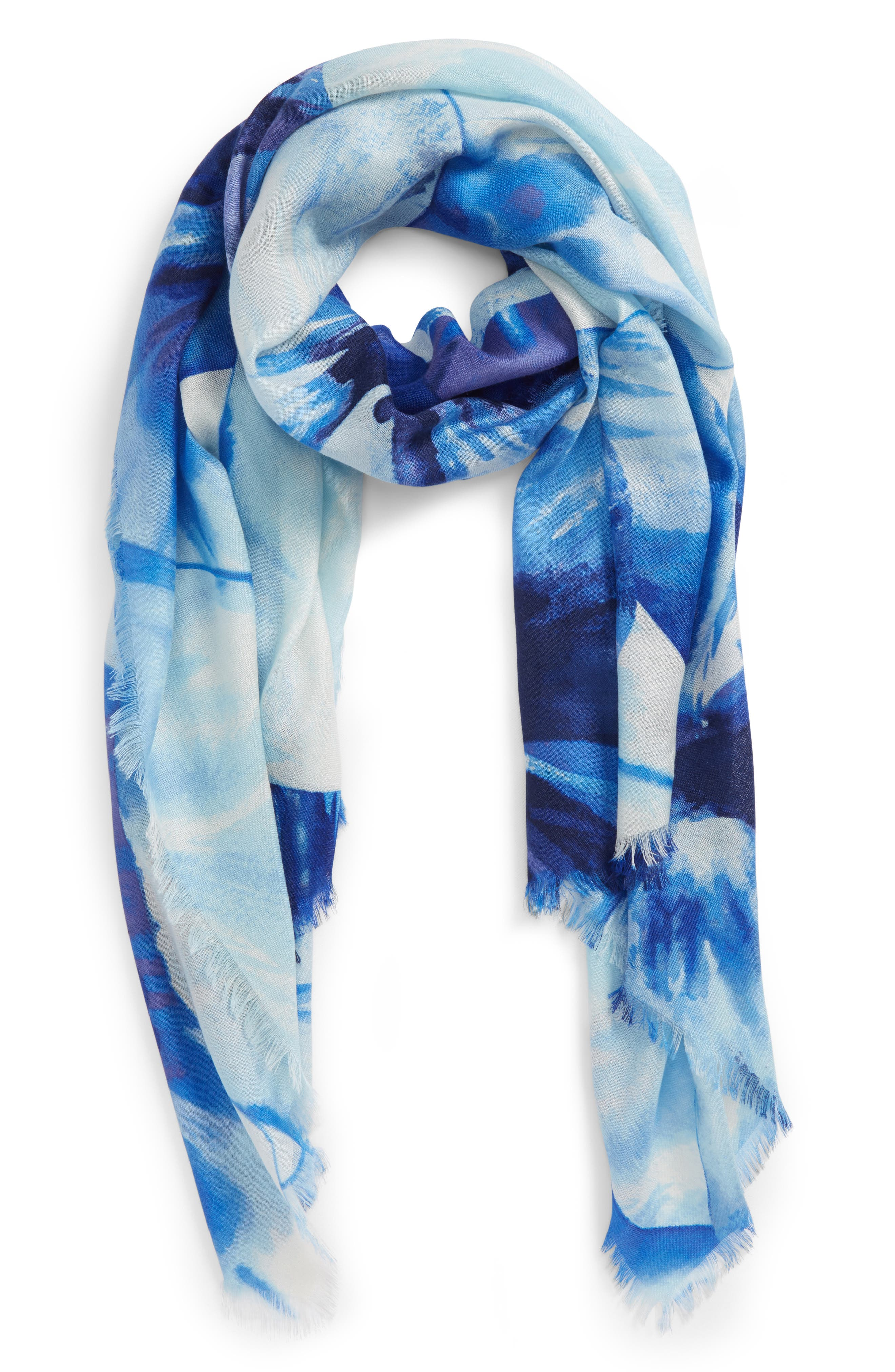 Eyelash Trim Print Cashmere & Silk Wrap,                             Main thumbnail 9, color,