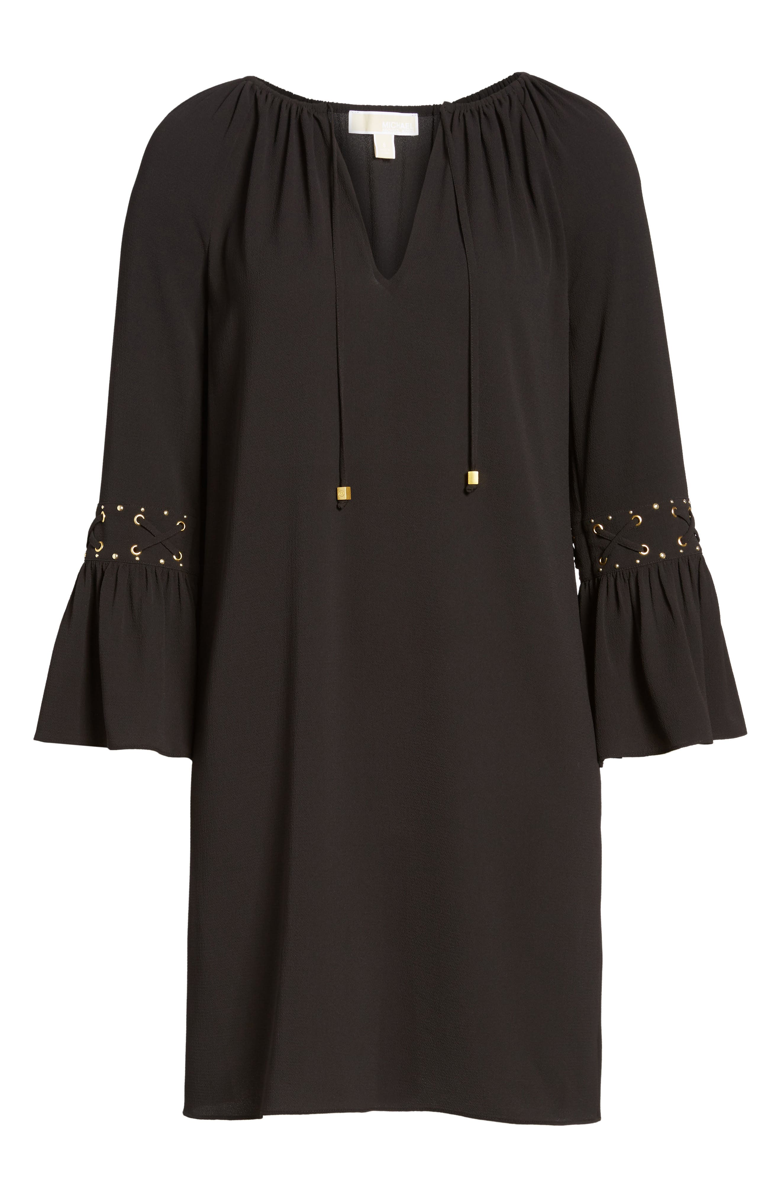 Lace-Up Sleeve Dress,                             Alternate thumbnail 6, color,                             001